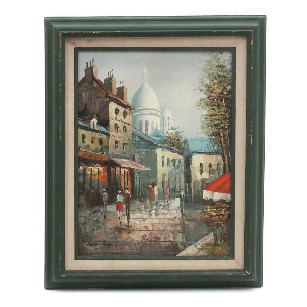 Henri Rogers Paris Streetscape Oil Painting