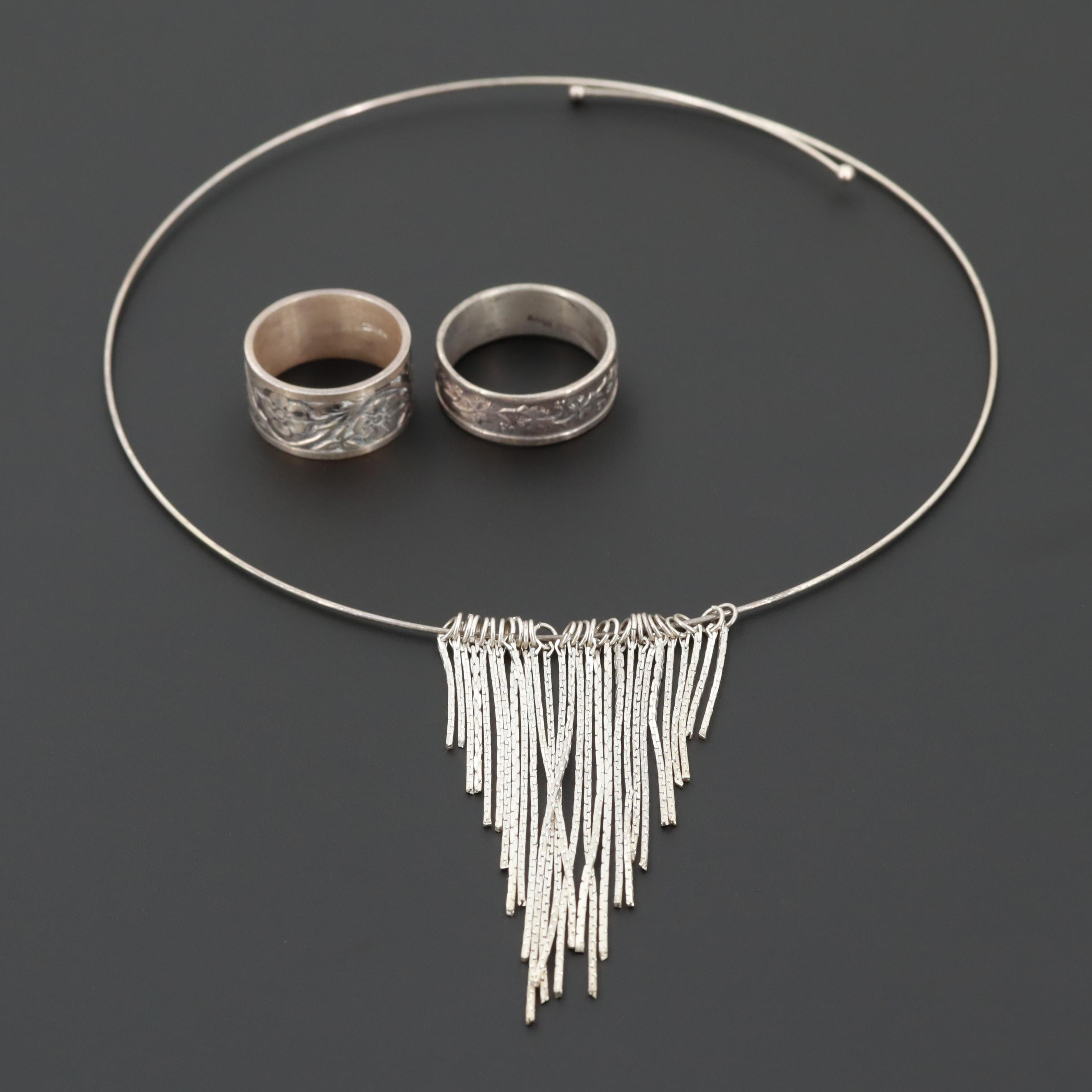 Sterling Silver Necklace and Floral Rings