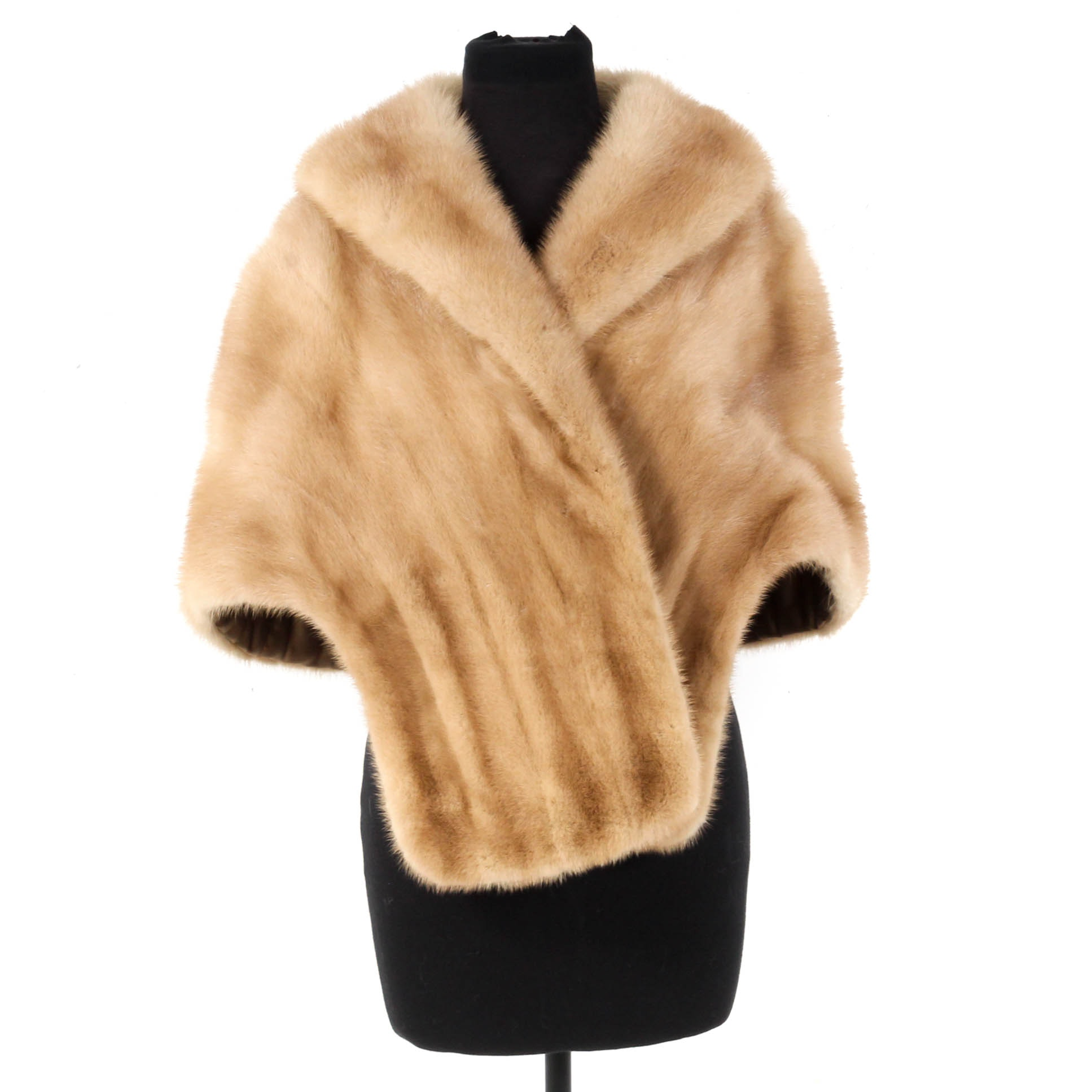Mink Fur Stole With Shawl Collar, Vintage
