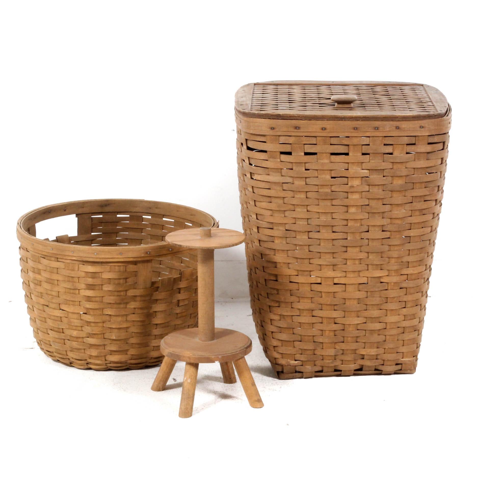 Longaberger Laundry Basket, Sewing Basket and Stand
