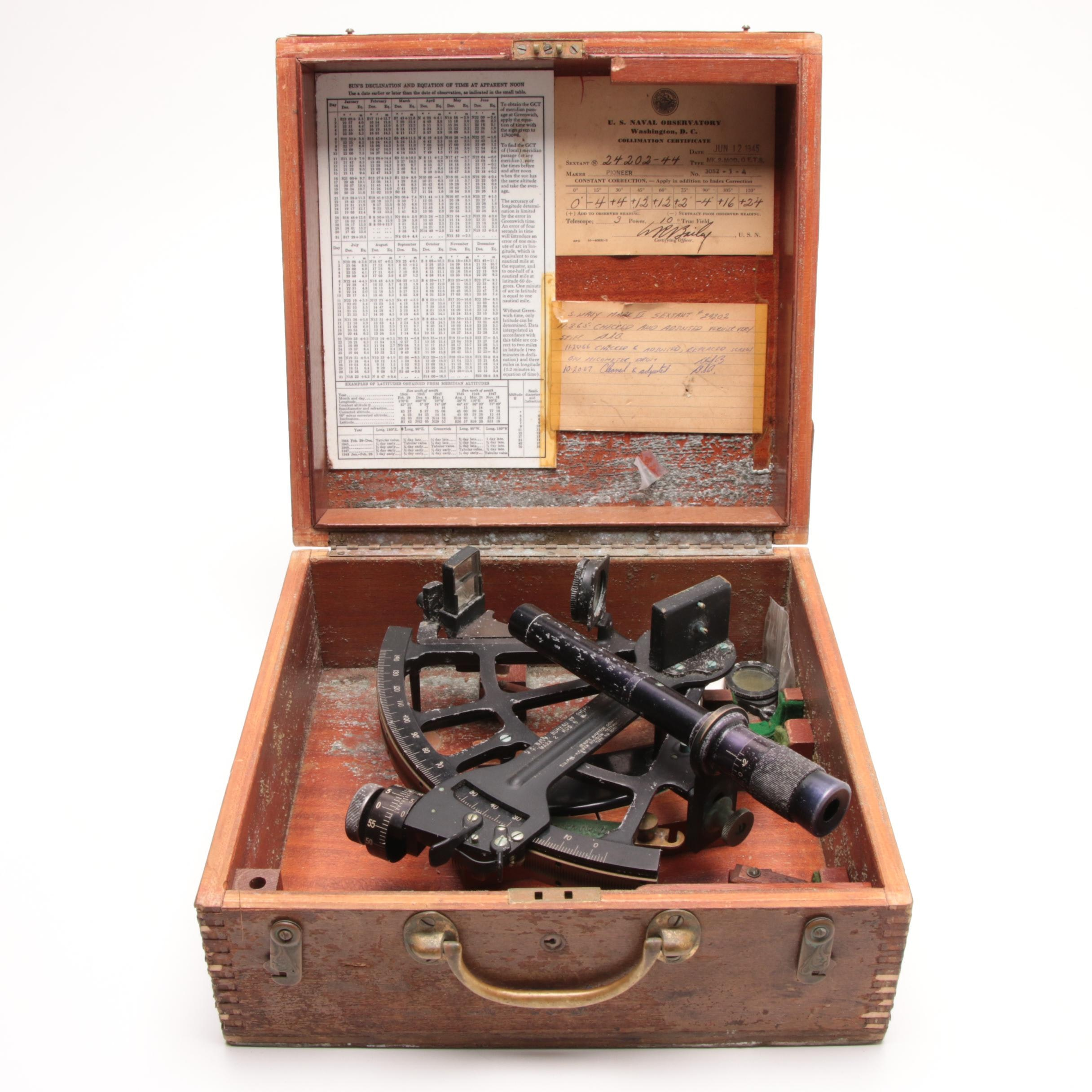 WWII Era Pioneer Mark II Sextant for the US Navy