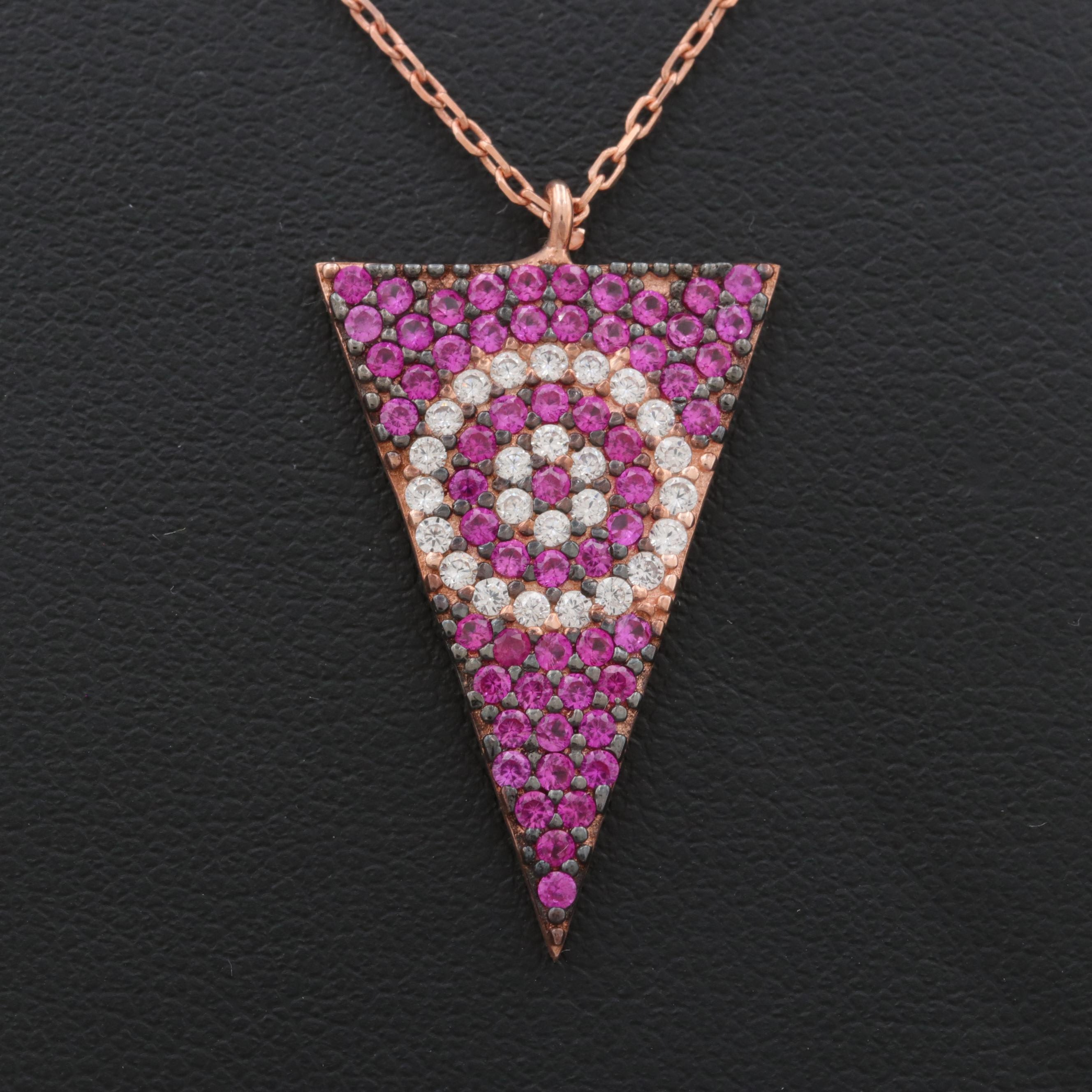 Rose Wash on Sterling Silver Synthetic Ruby and Cubic Zirconia Triangle Necklace