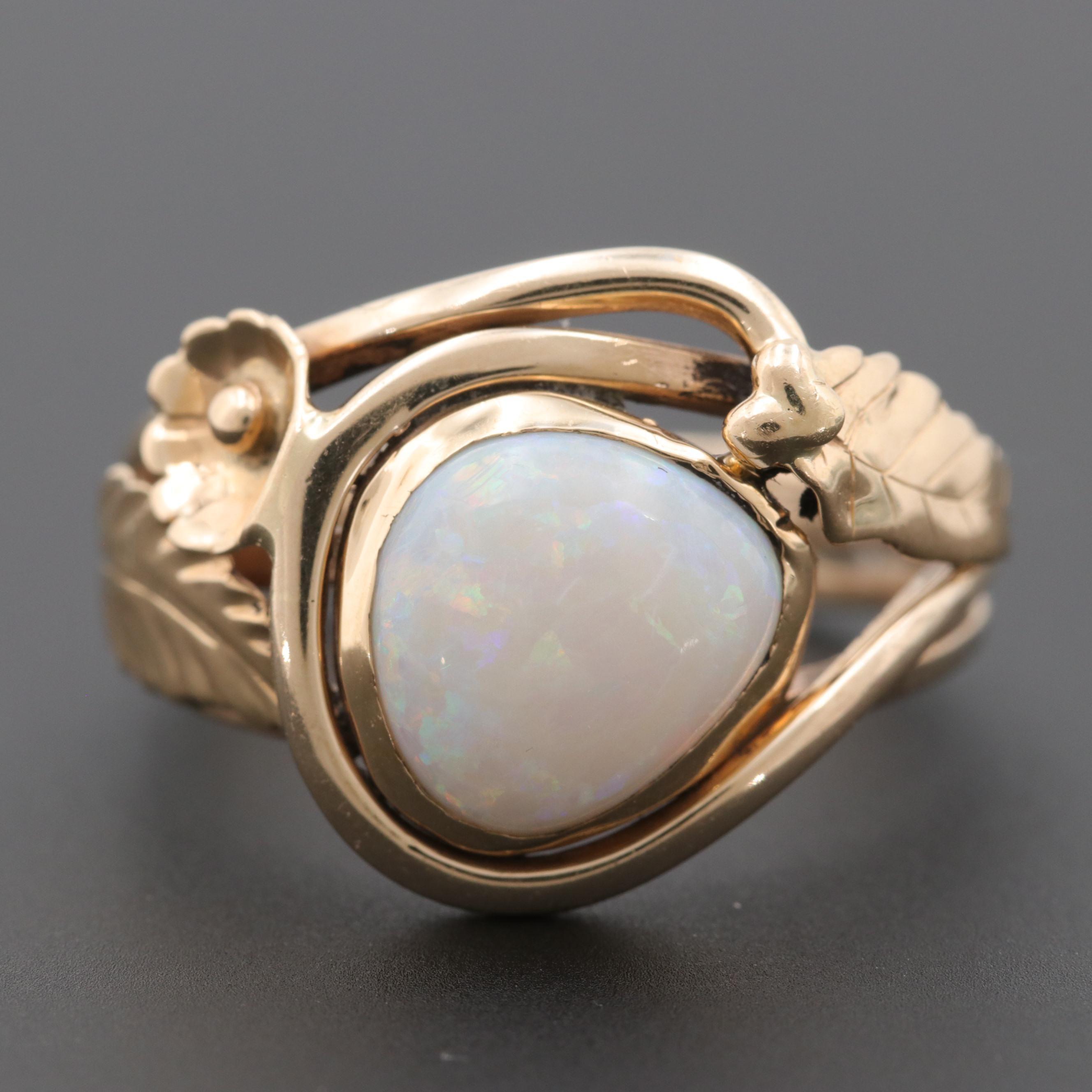 14K Yellow Gold Opal Gemstone Ring