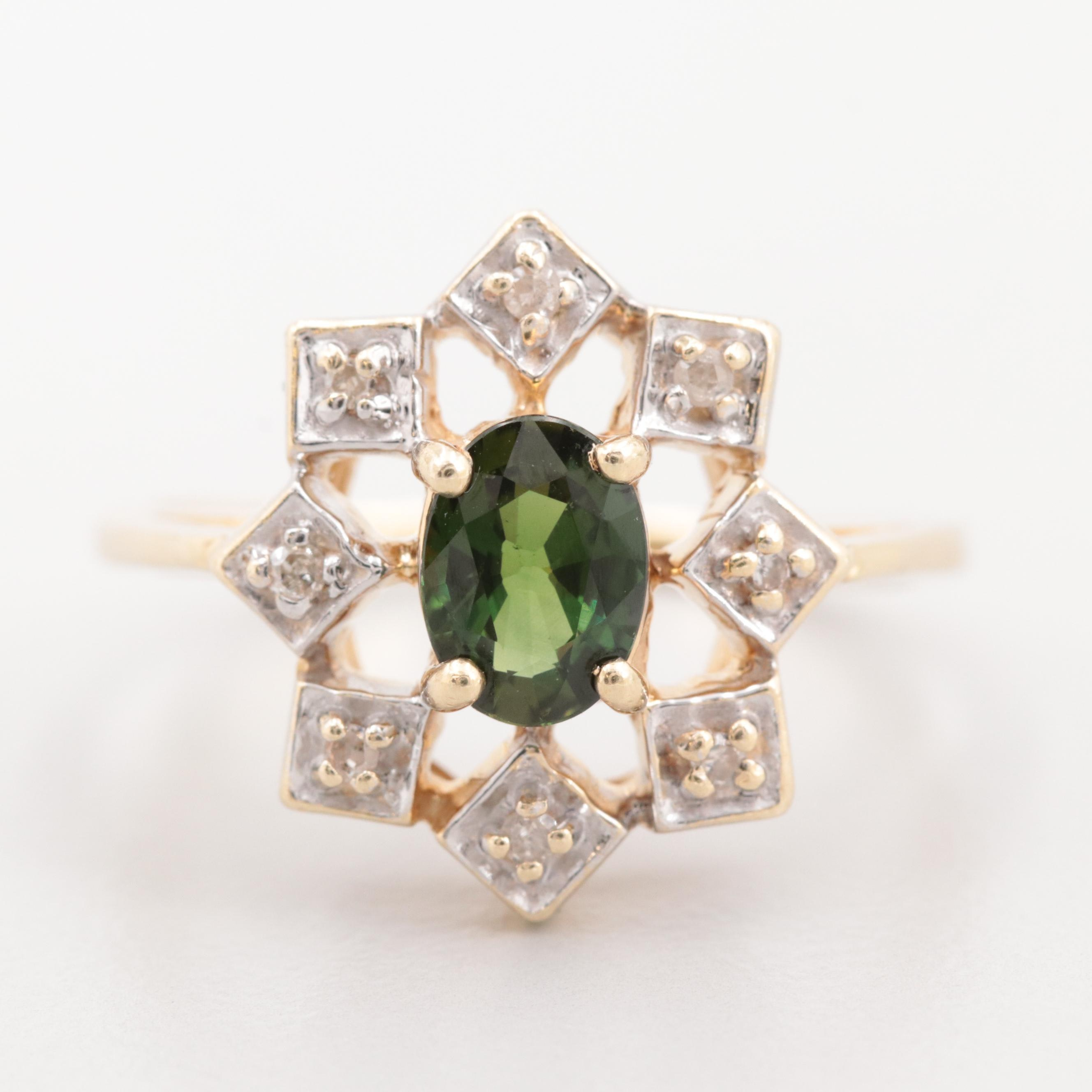 14K Yellow Gold Green Sapphire and Diamond Ring