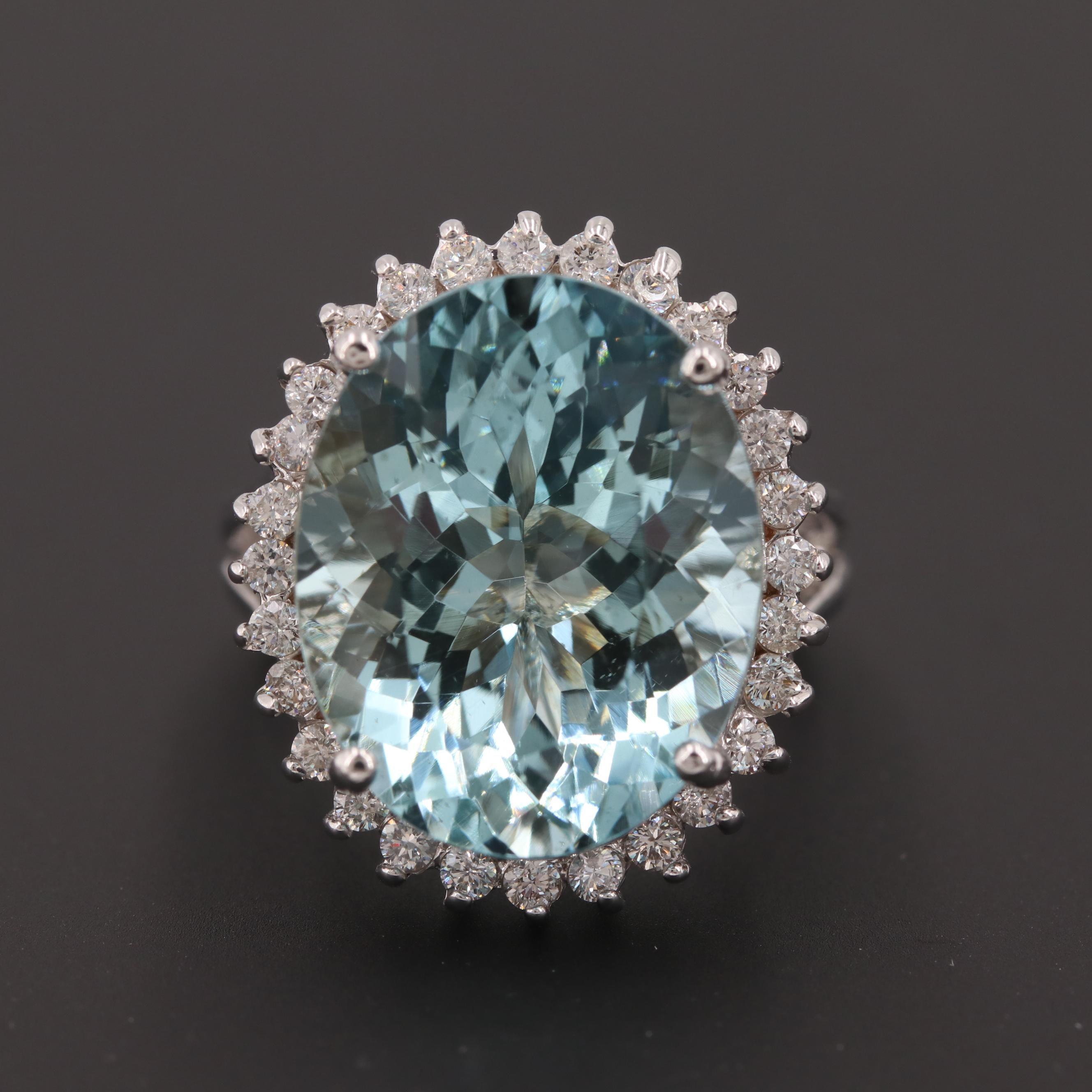 18K White Gold 13.70 CT Aquamarine and Diamond Ring