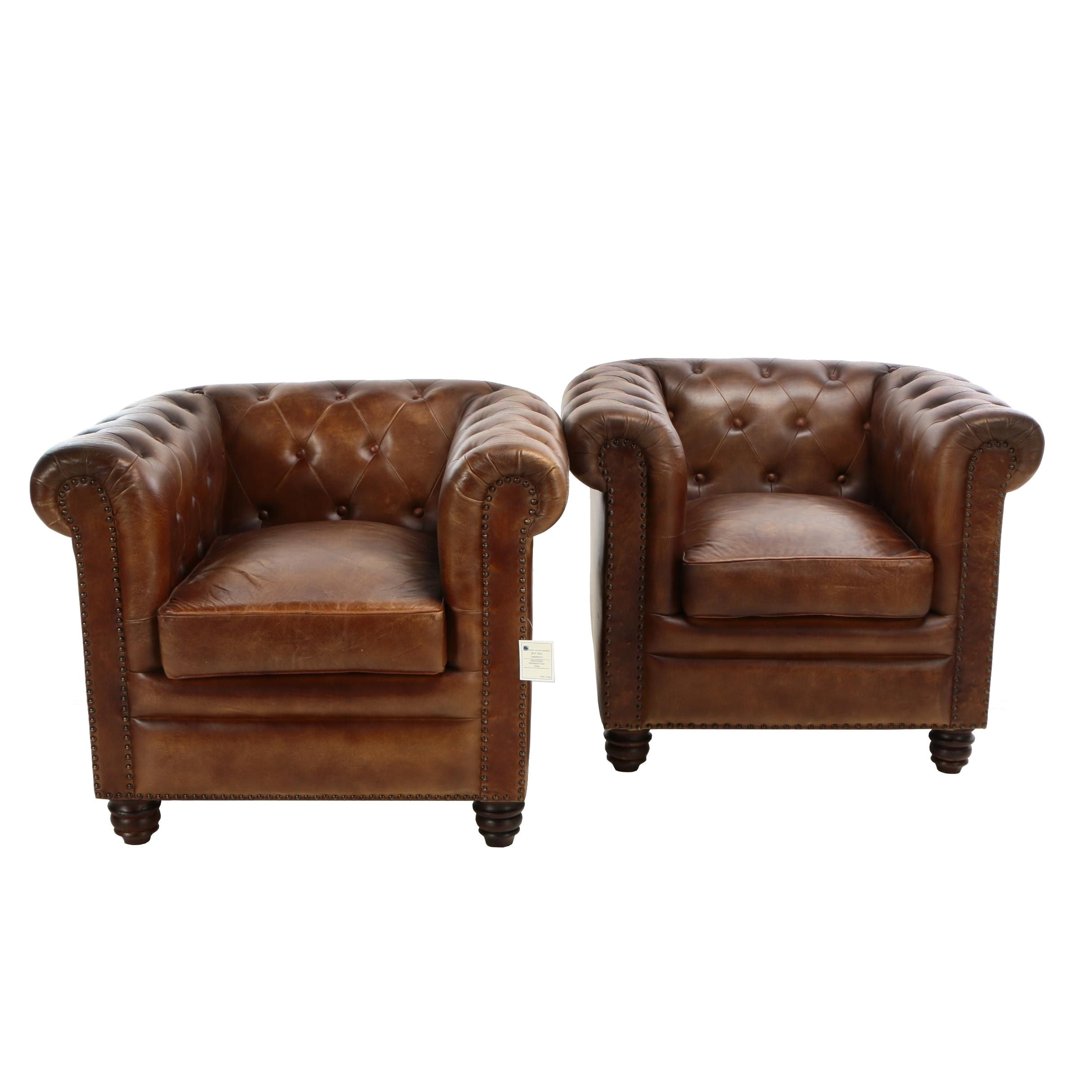 """Pair of Chesterfield Style """"Norwood"""" Tufted Leather Club Chairs"""