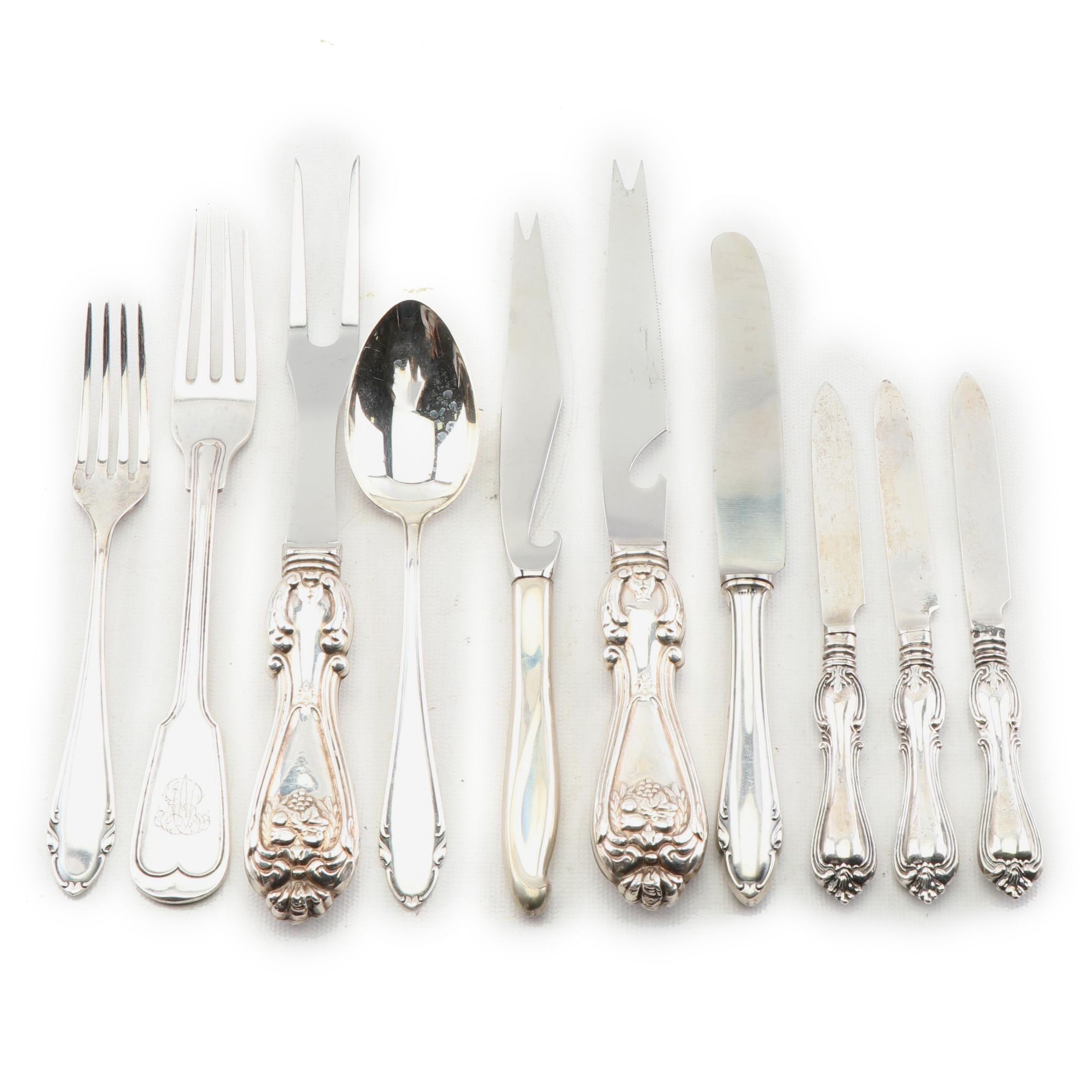 Sterling Silver and 800 Silver Hollow Handled Flatware