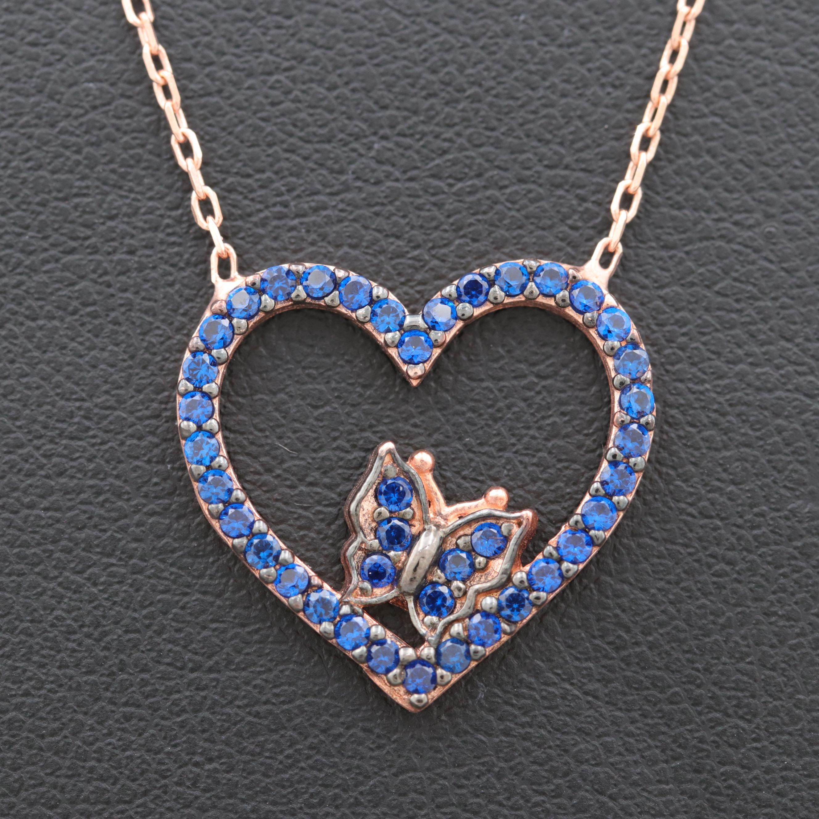 Rose Gold Wash on Sterling Silver Synthetic Blue Spinel Heart Necklace