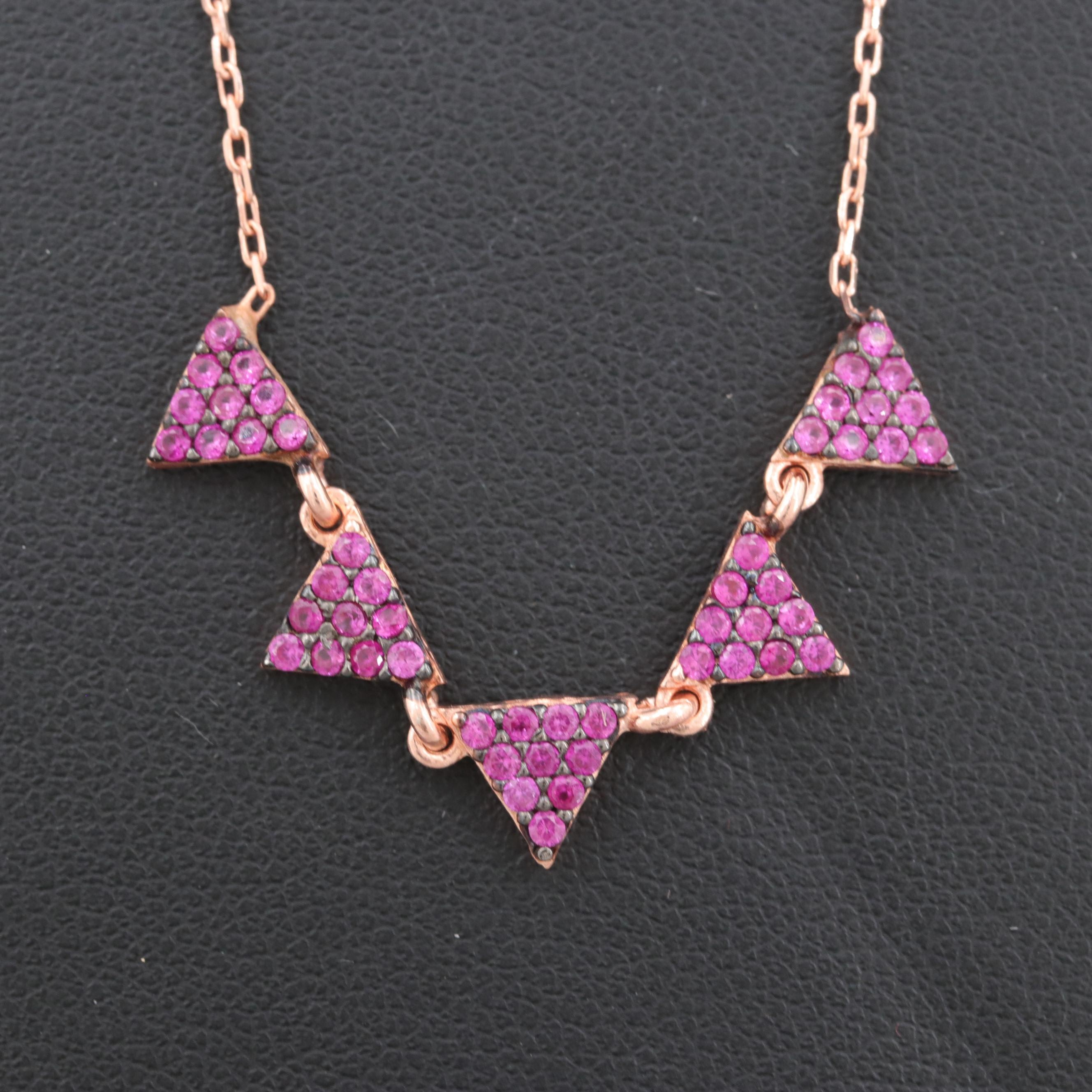 Rose Gold Wash on Sterling Silver Synthetic Ruby Geometric Necklace