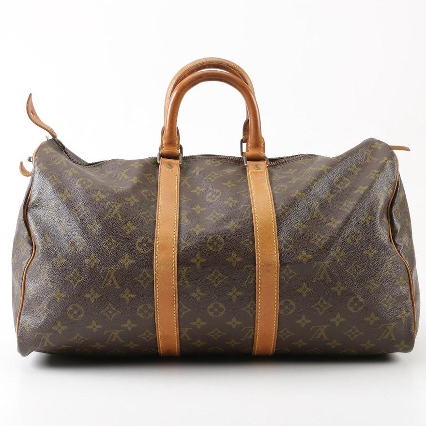 2b1b646c61f6c Louis Vuitton Paris Monogram Canvas Keepall 45 Duffel Bag