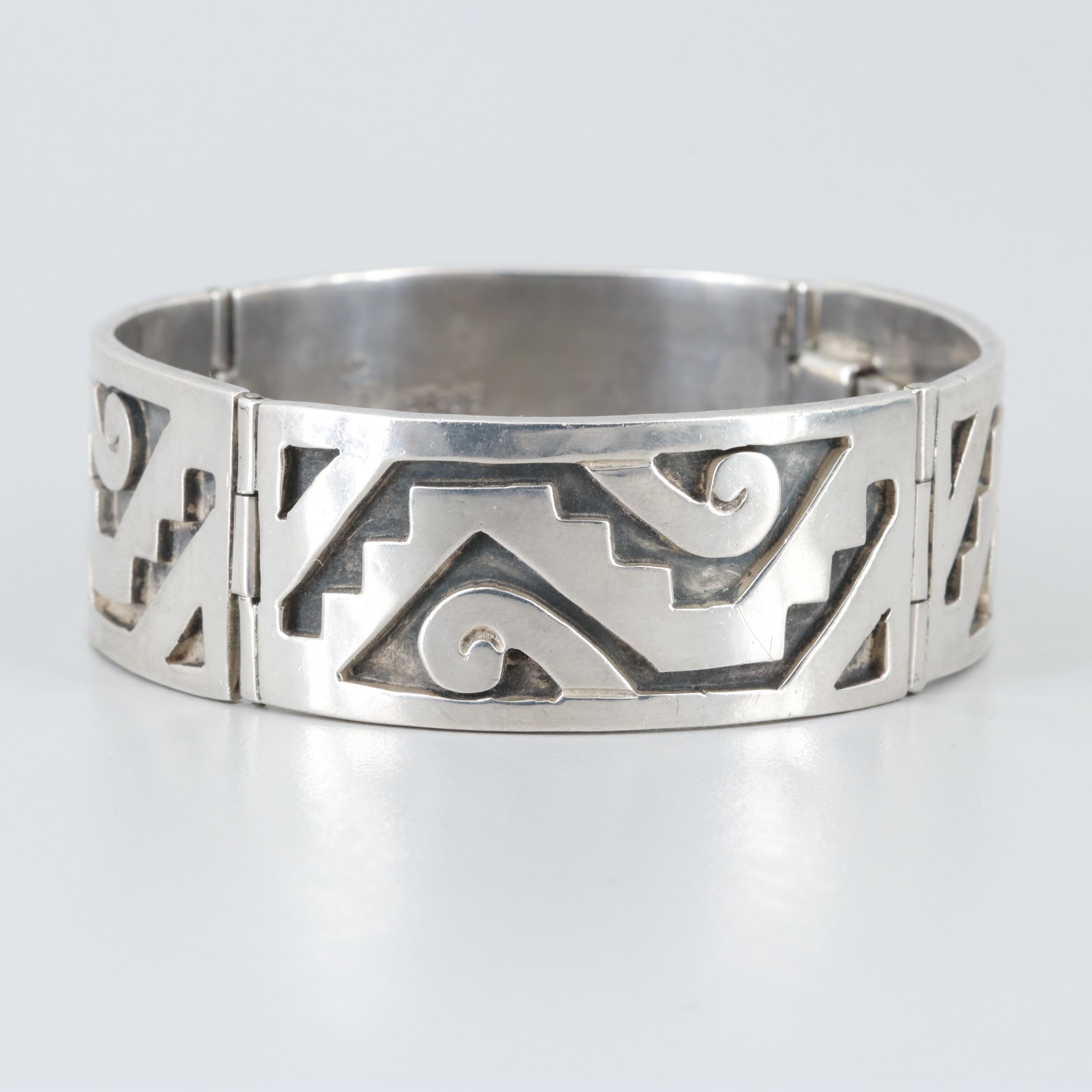 Vintage Taxco Mexico Sterling Silver Hinged Bracelet