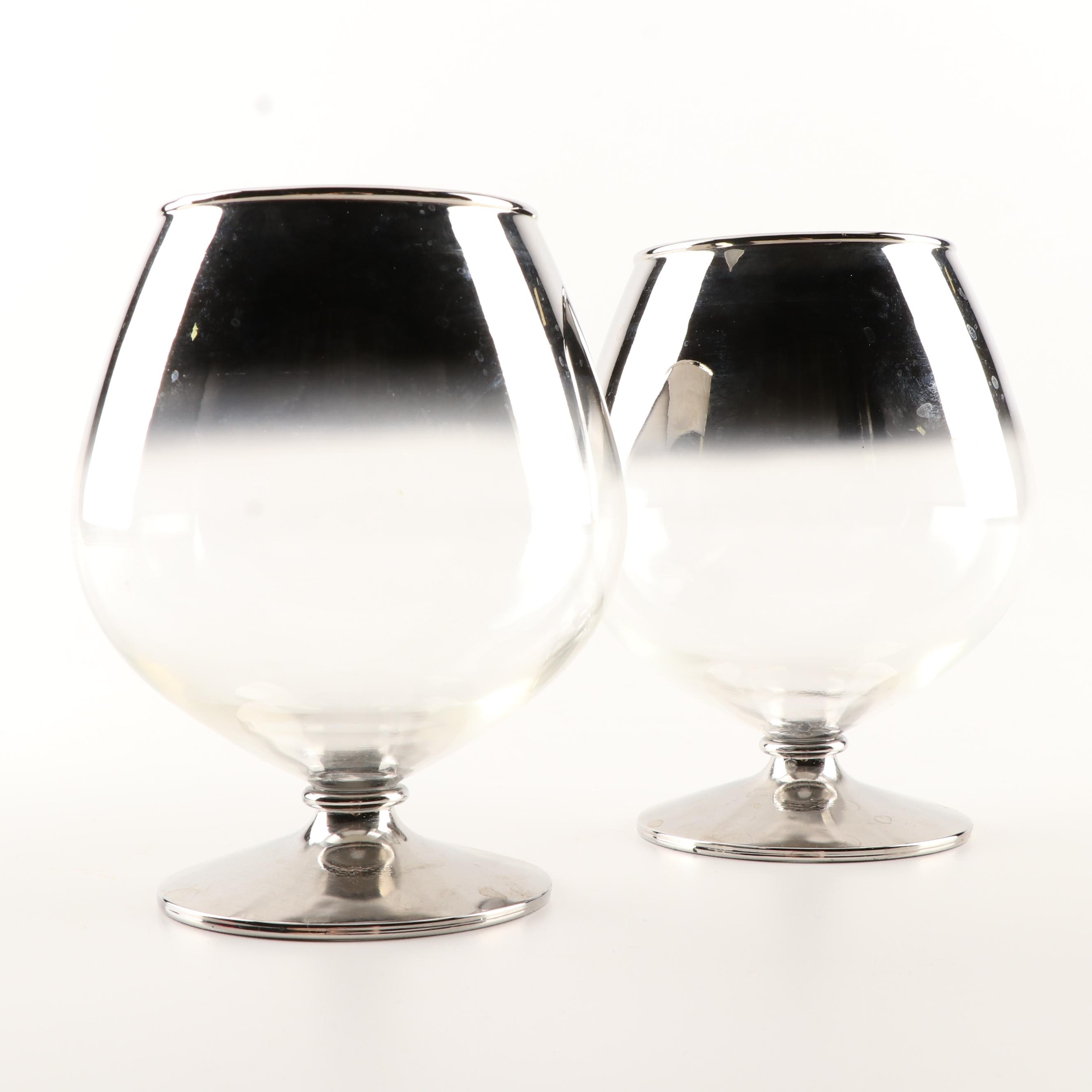 Silver Metallic Rimmed Brandy Snifters