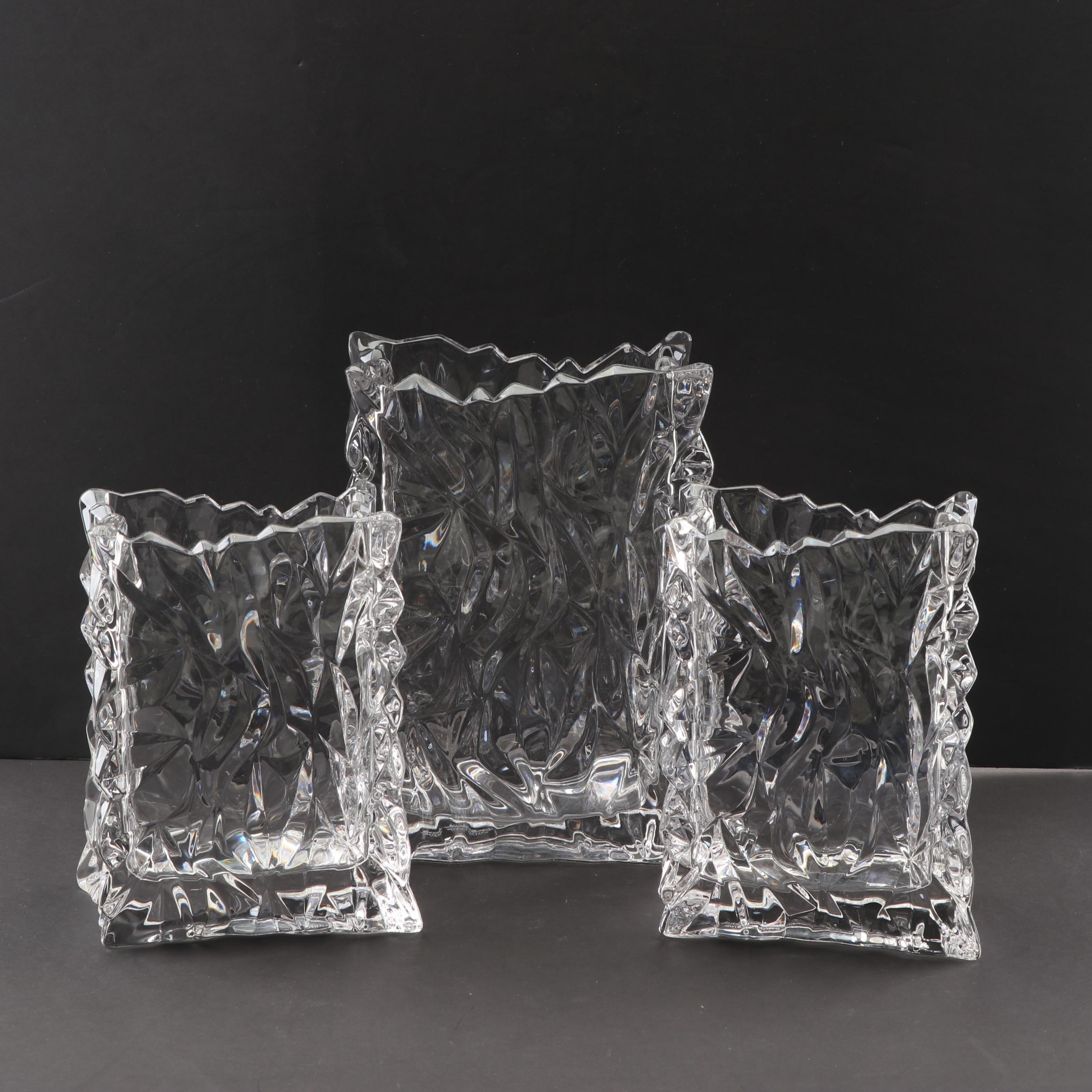 Mid Century Modern Tapio Wirkkala for Rosenthal Ice Crystal Sack Vases