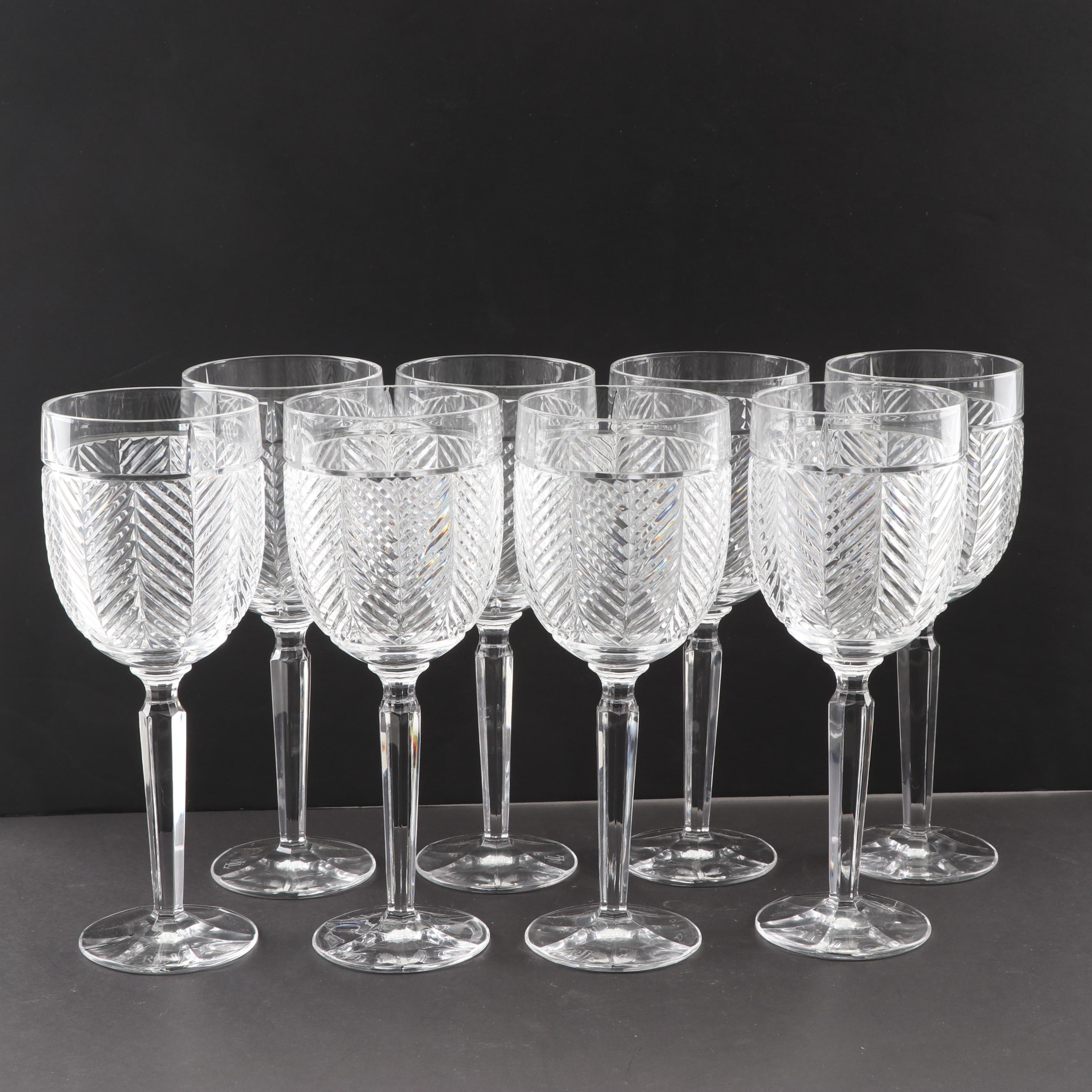 "Ralph Lauren Crystal ""Herringbone"" Water Goblets"