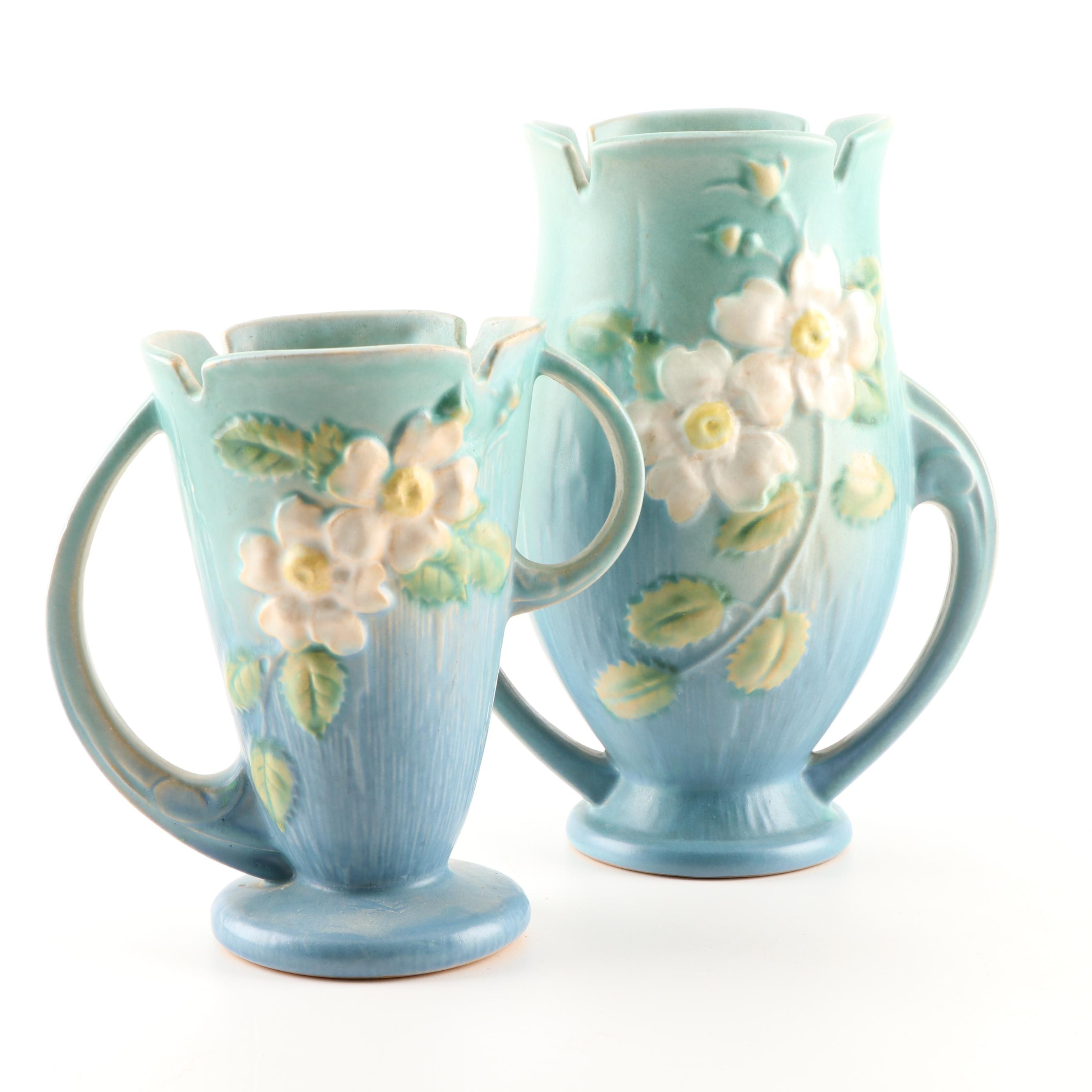 "Roseville Pottery ""White Rose"" Handled Vases, 1940s"
