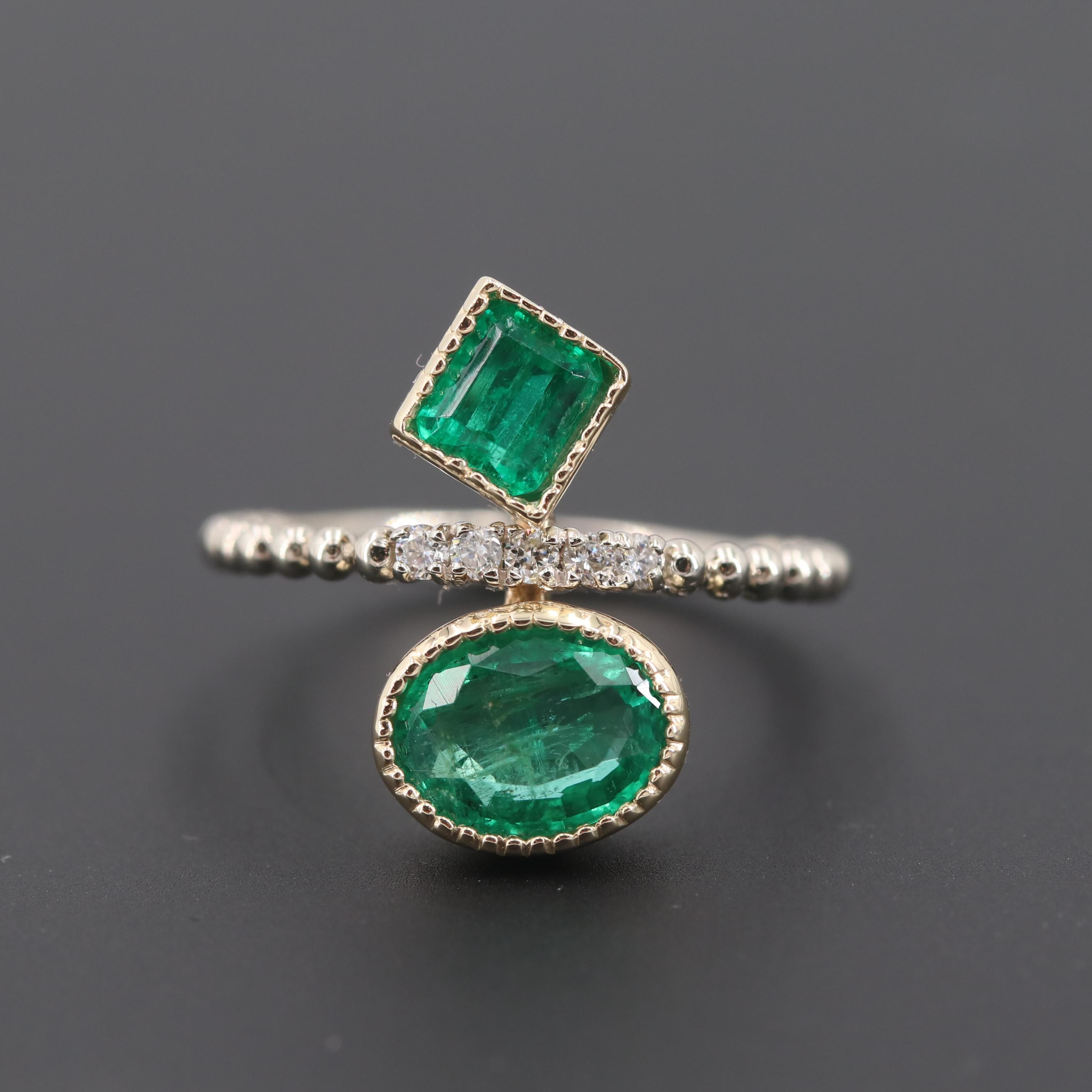 14K White and Yellow Gold Emerald and Diamond Ring