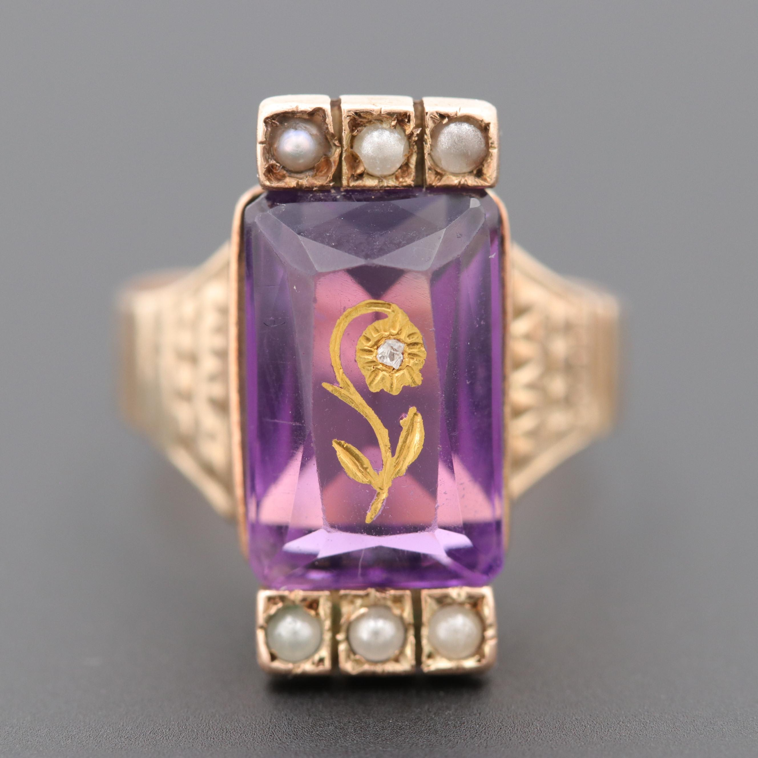 Circa 1870s Victorian 10K Yellow Gold Amethyst, Diamond and Cultured Pearl Ring
