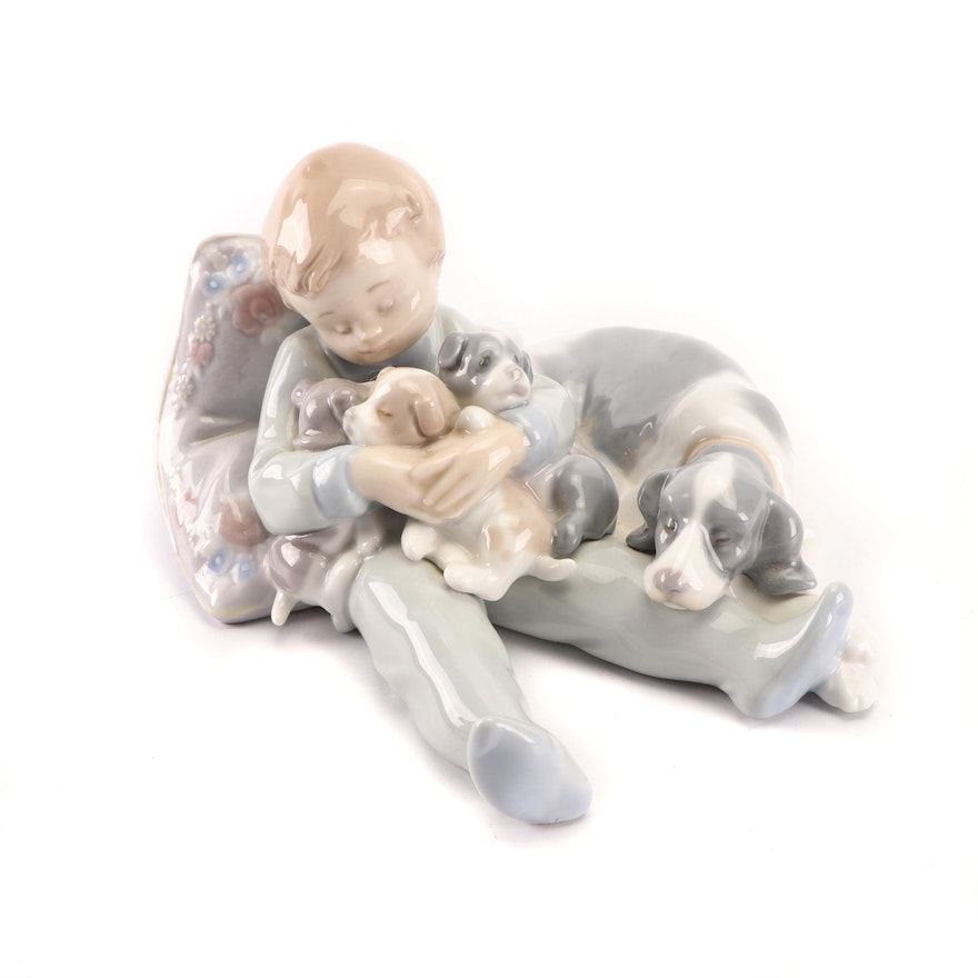 """Lladro """"Sleeping Child with Puppies and Mama"""" Porcelain Figurine, 1990s"""