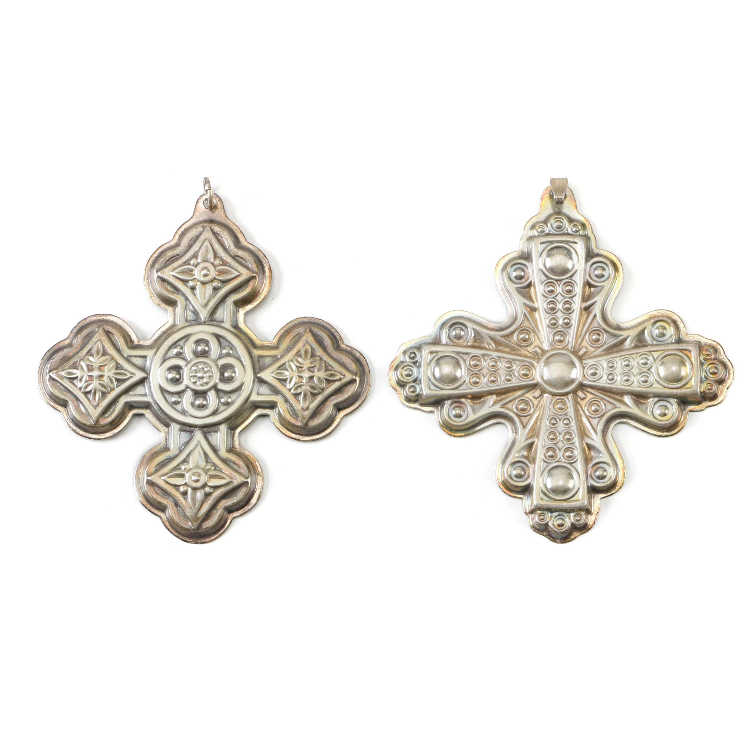 "Reed & Barton ""Christmas Cross"" Annual Sterling Ornaments, 1971 - 1972"