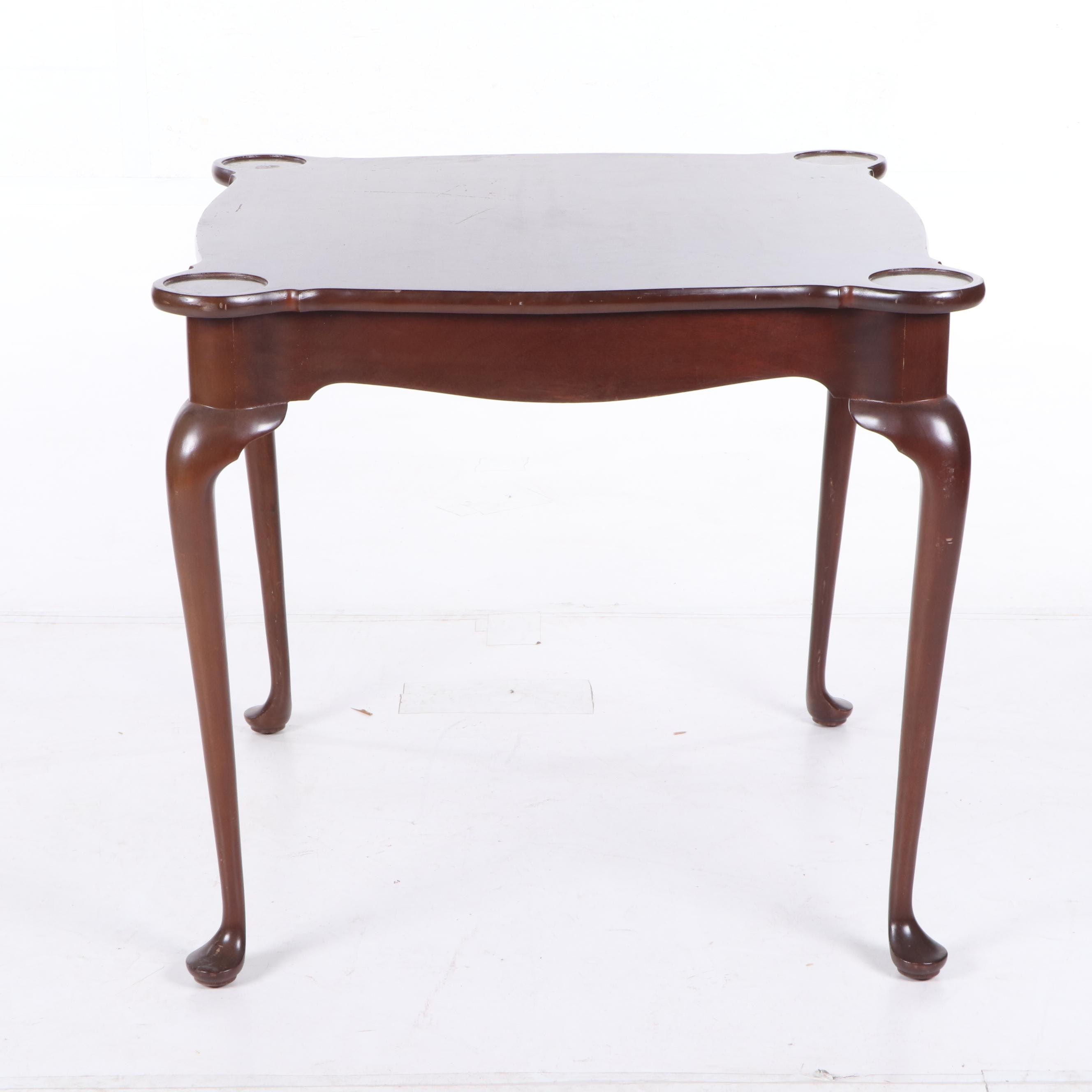 Queen Anne Style Mahogany Games Table, 20th Century
