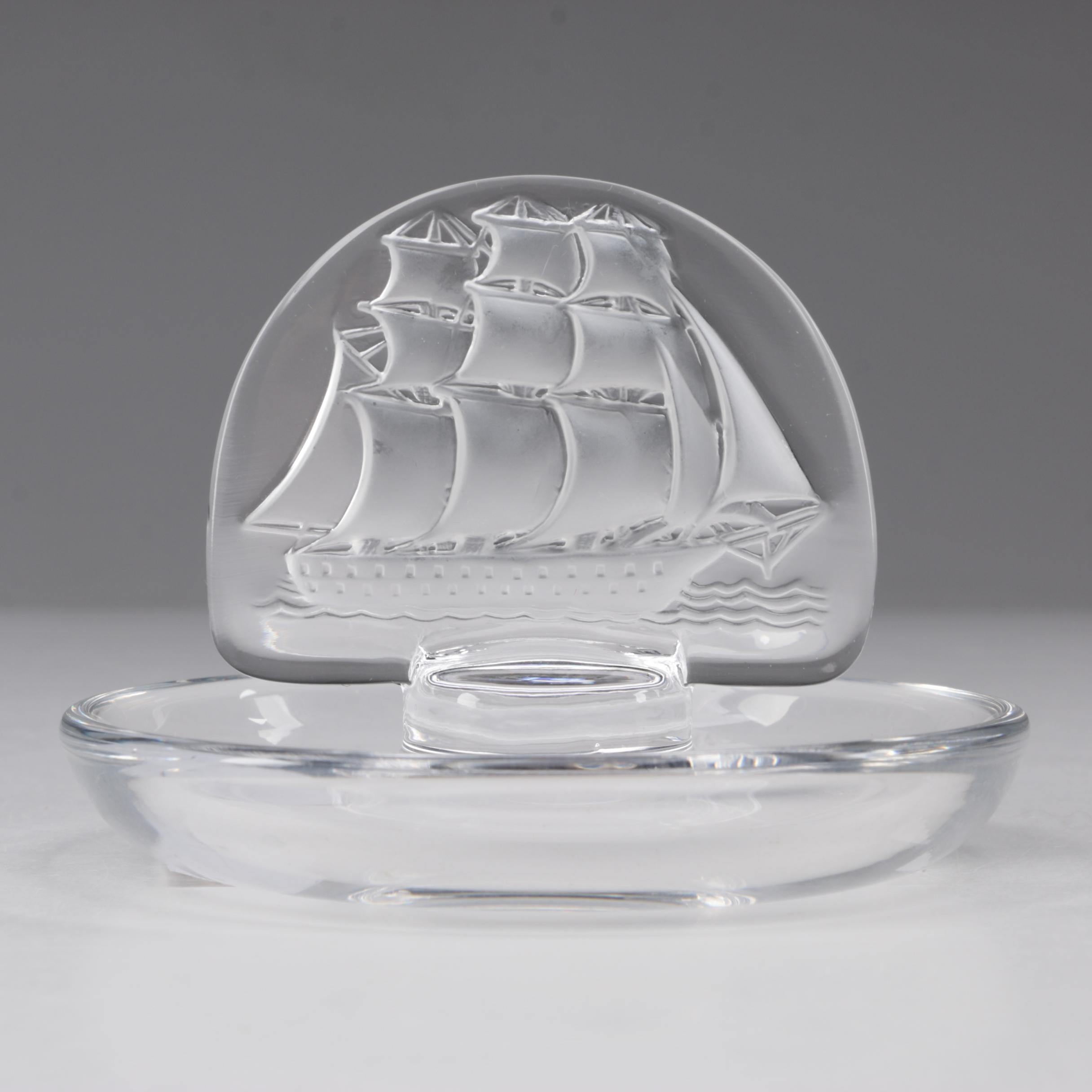 """Lalique """"Caravelle"""" Crystal Pin Tray"""