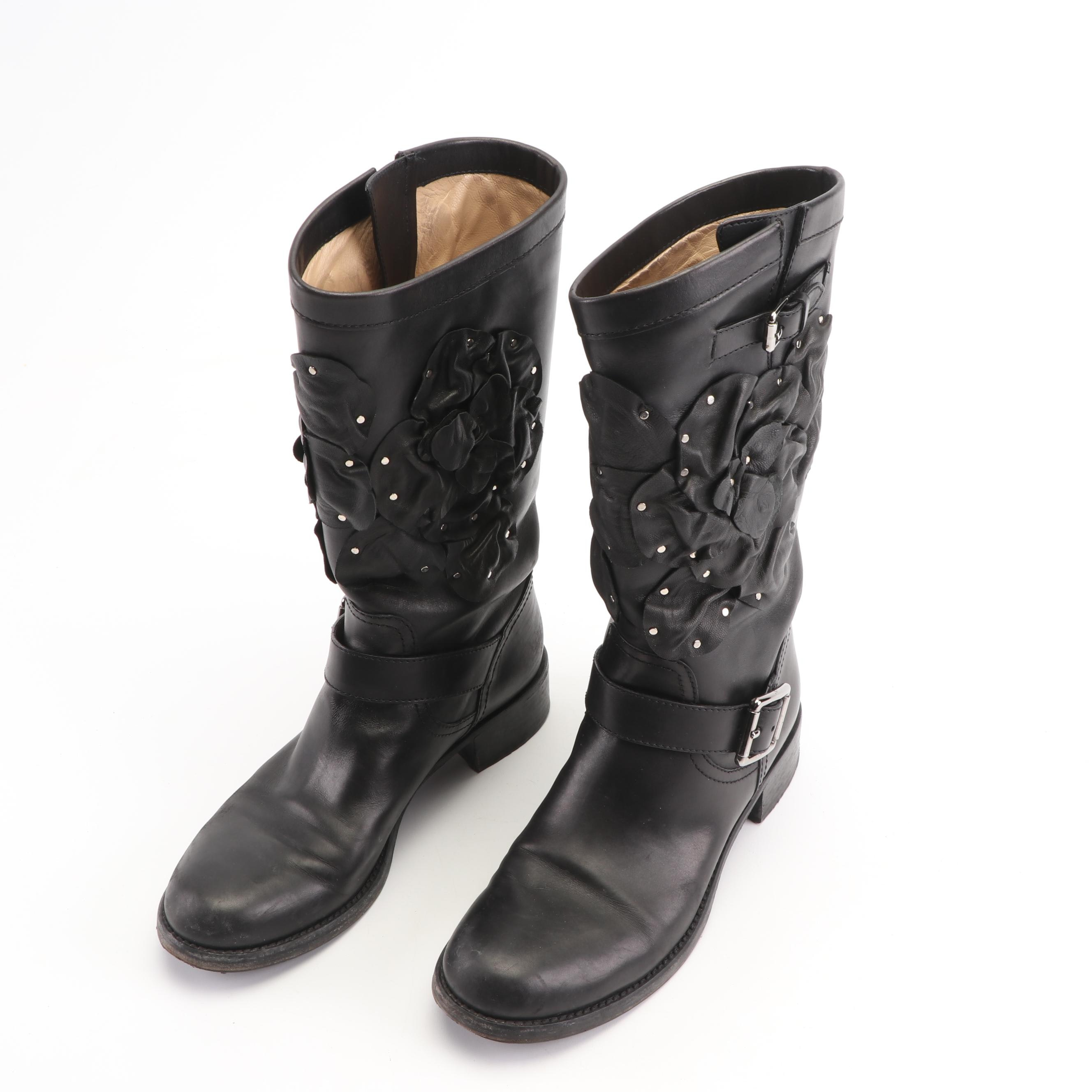 Valentino Black Leather Buckle Boots with Applied Studded Florals, Made in Italy