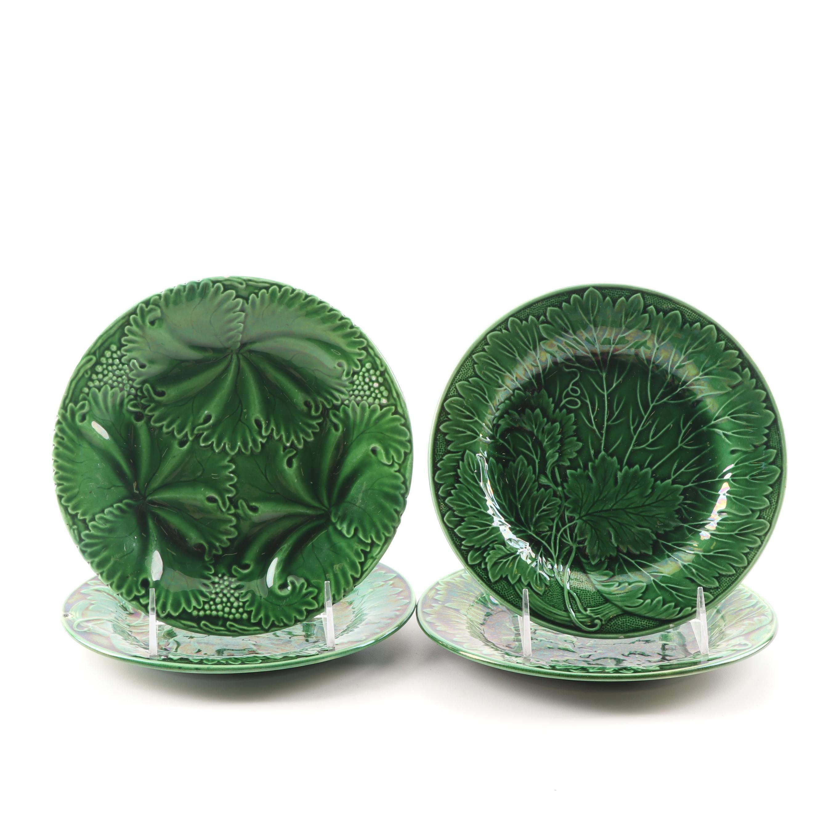 Green Majolica Leaf Plates Including Hornberg, 19th Century