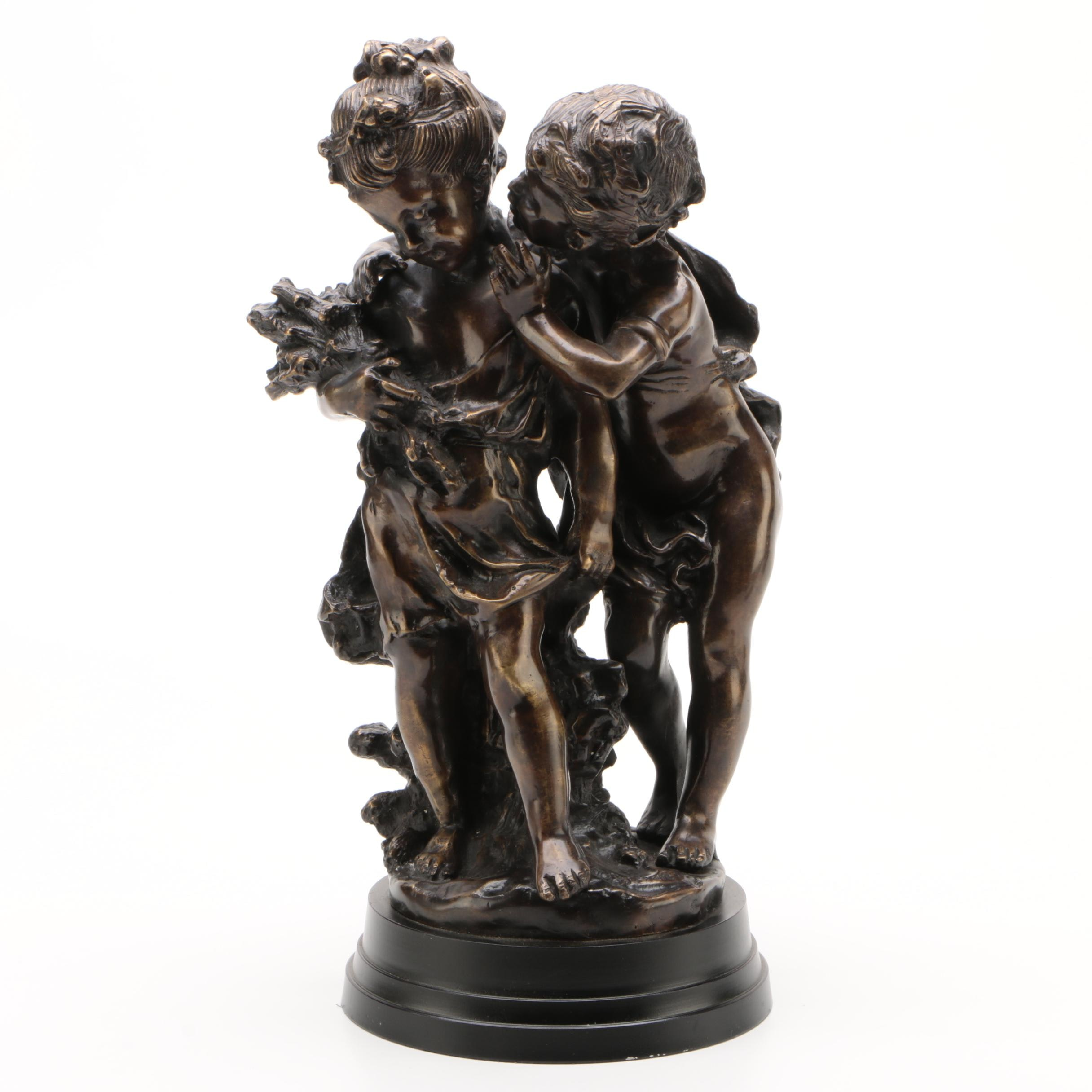 "American Reproduction Bronze Sculpture after Auguste Moreau ""Secrets"""