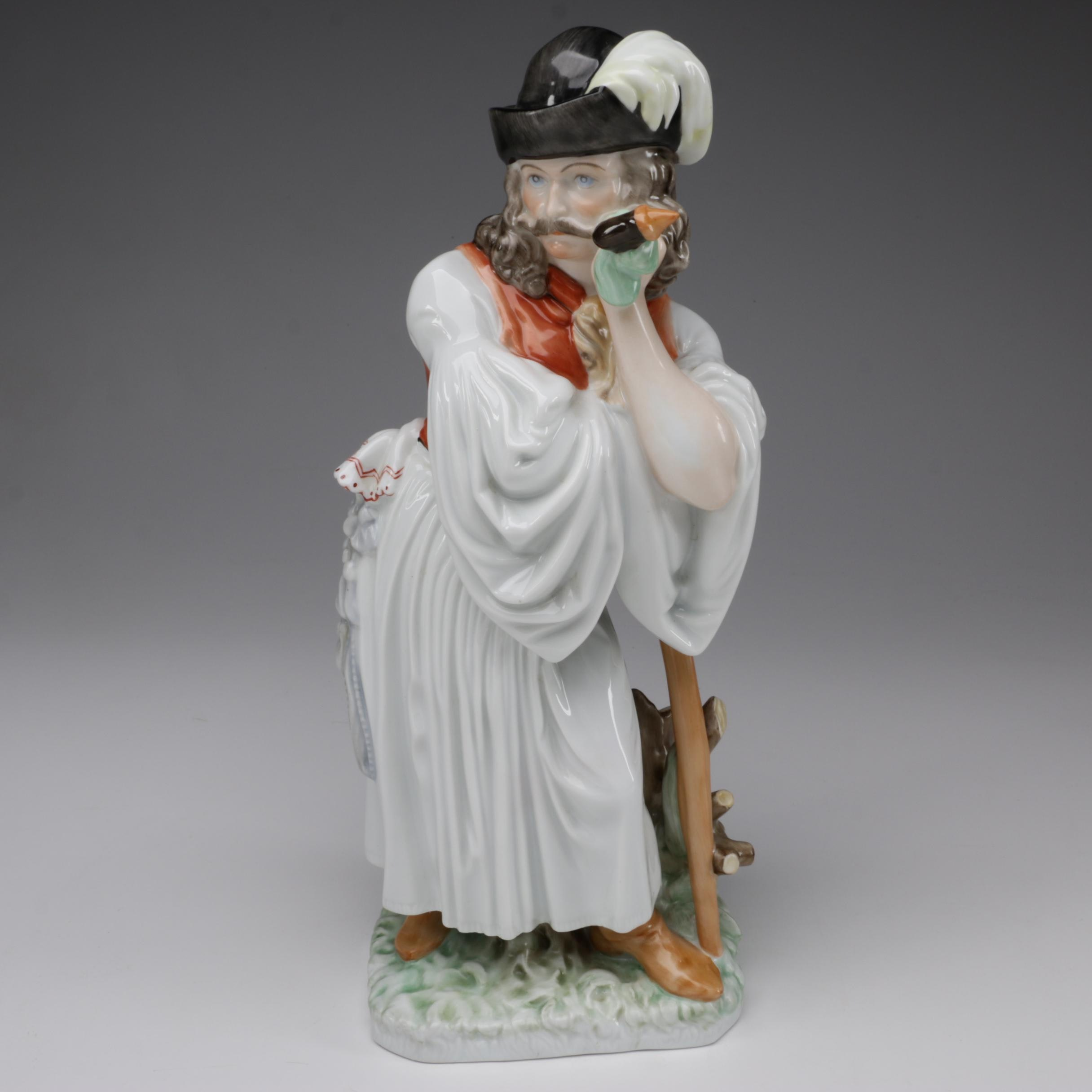 "Herend ""Man Leaning on Staff"" Porcelain Figurine, 1950s"