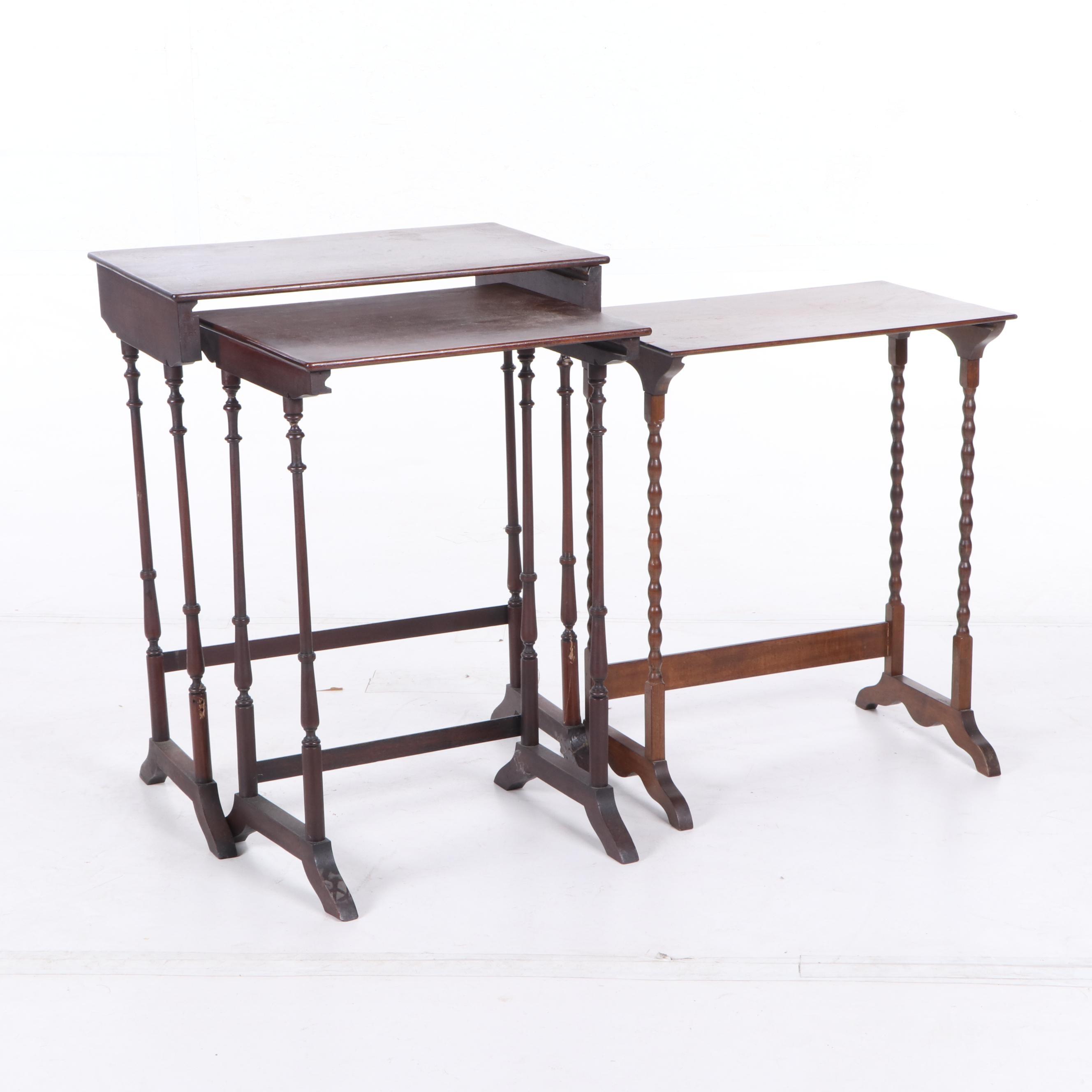 English Regency Mahogany Nesting Tables, Mid to Late 19th Century