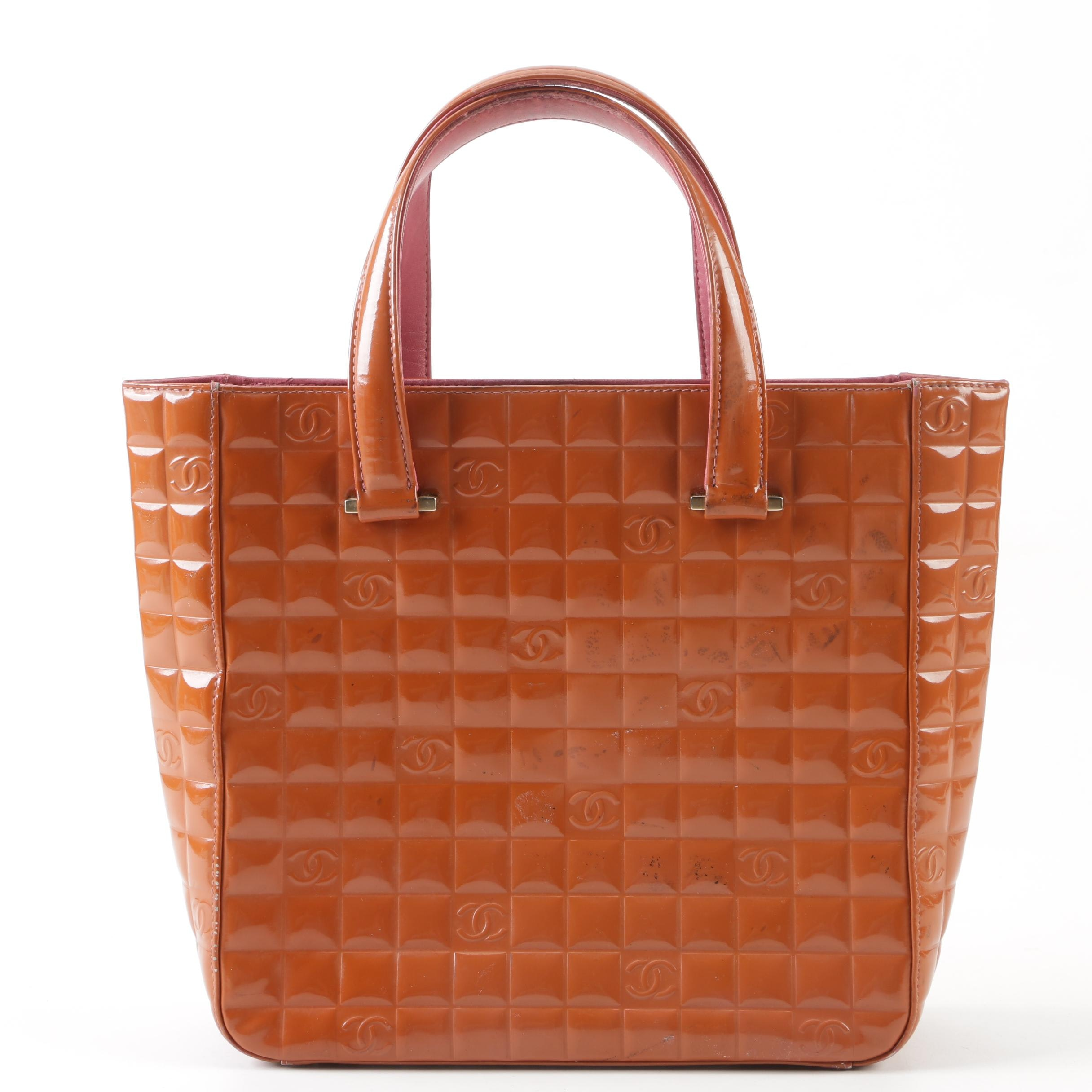 Chanel Quilted Rust Patent Leather Chocolate Bar Tote, Made in Italy