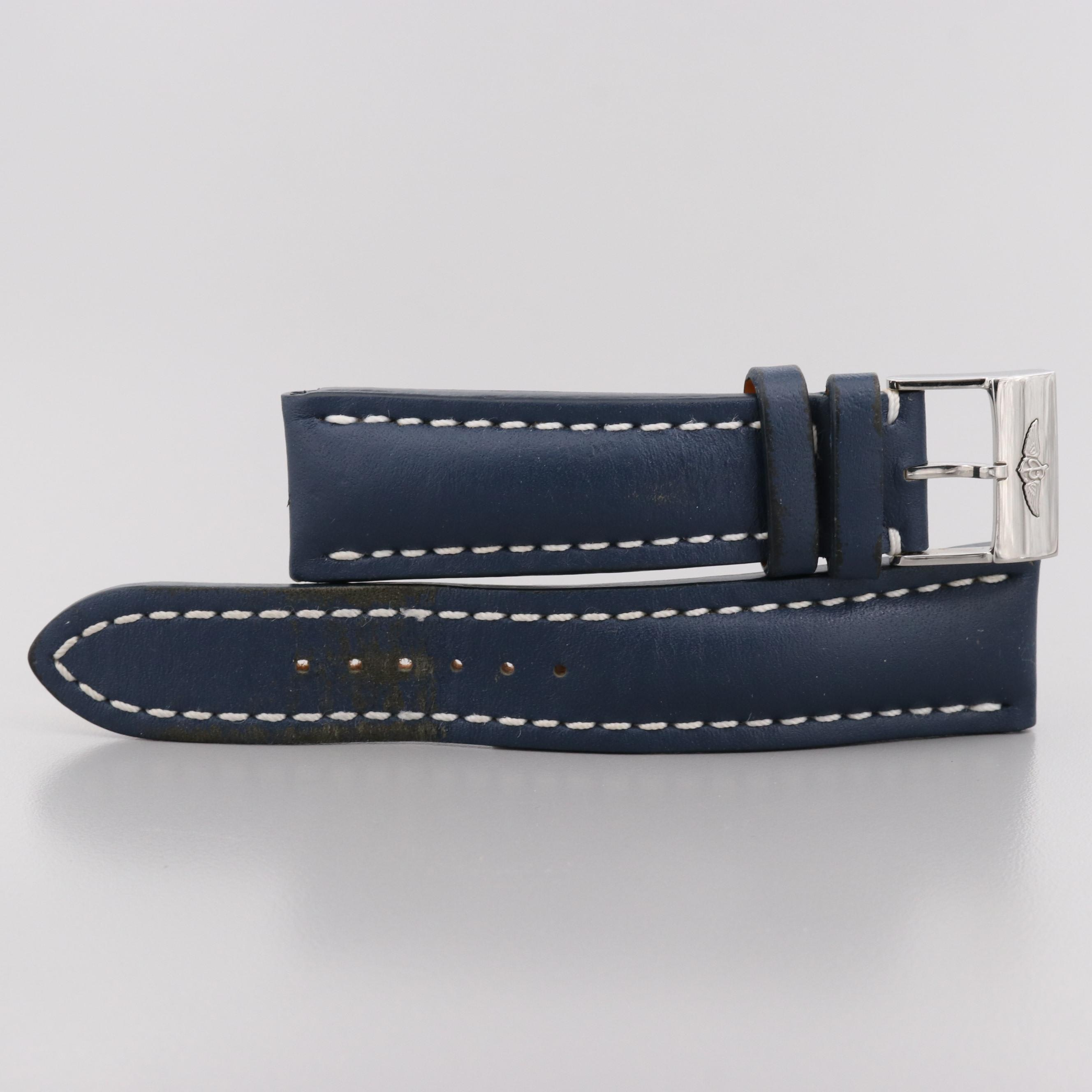 Breitling Navy Blue Leather Watch Strap