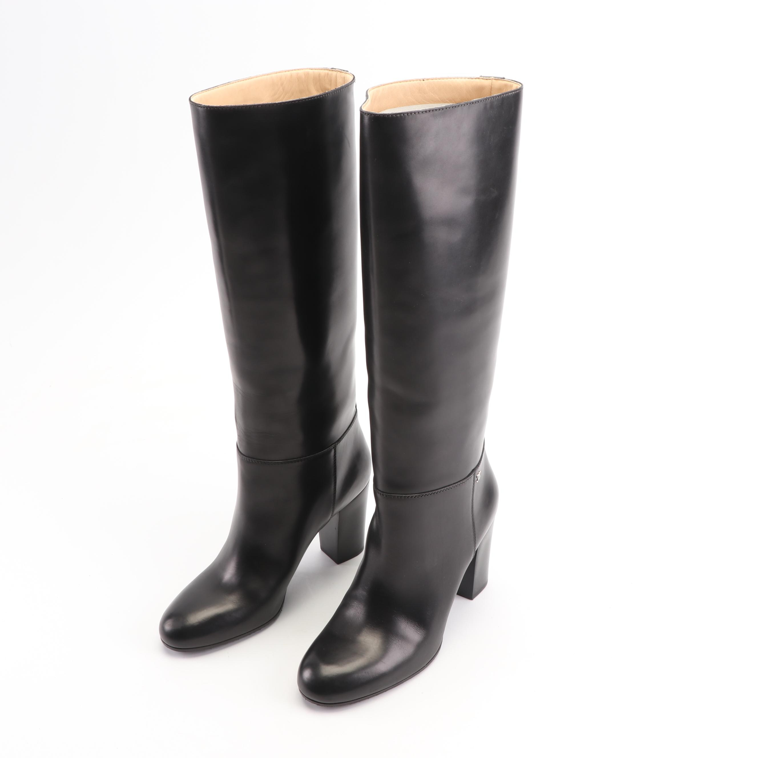 Women's Chanel Tall Black Leather Boots, Made in Italy