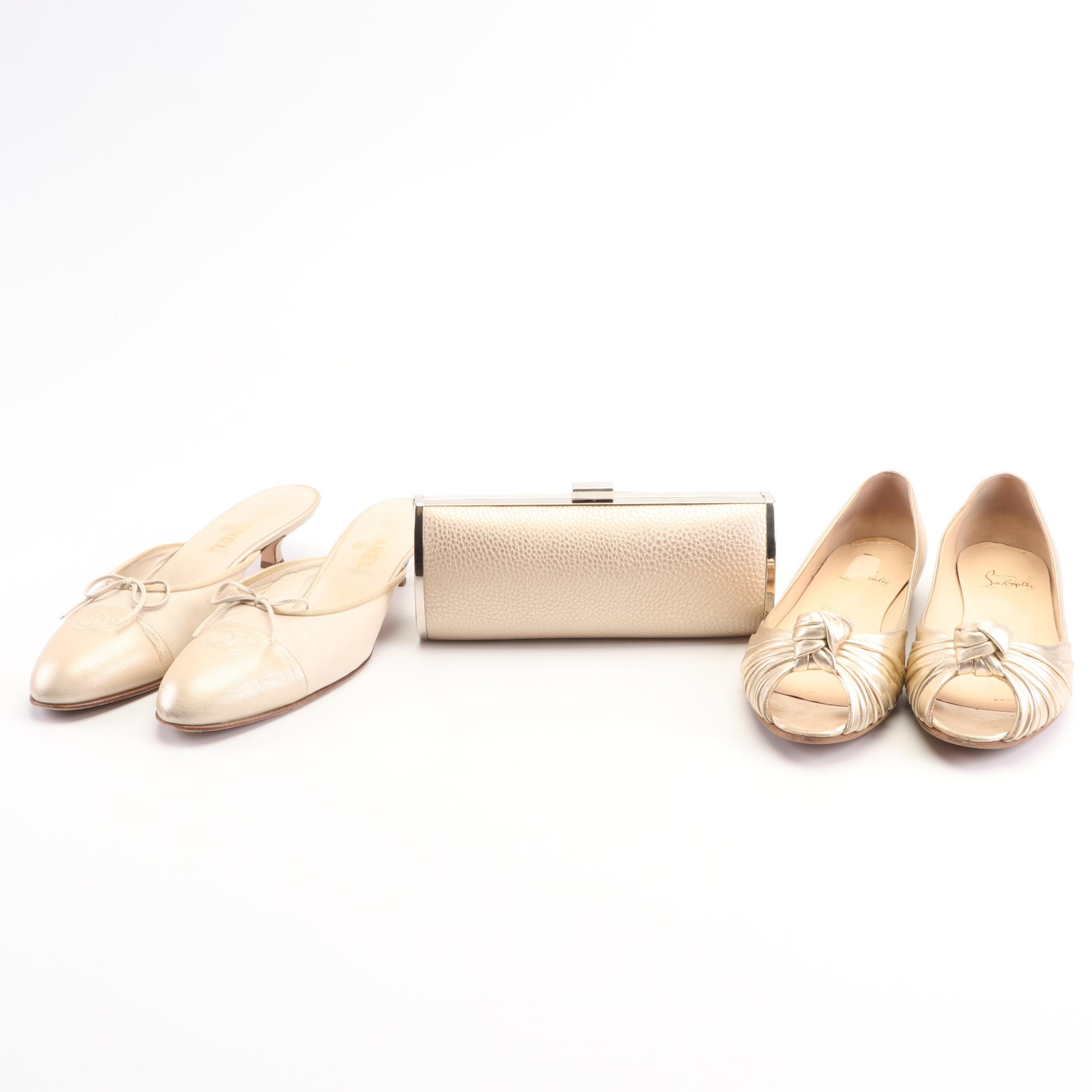 Chanel Mules and Christian Louboutin Flats with Kate Landry Clutch