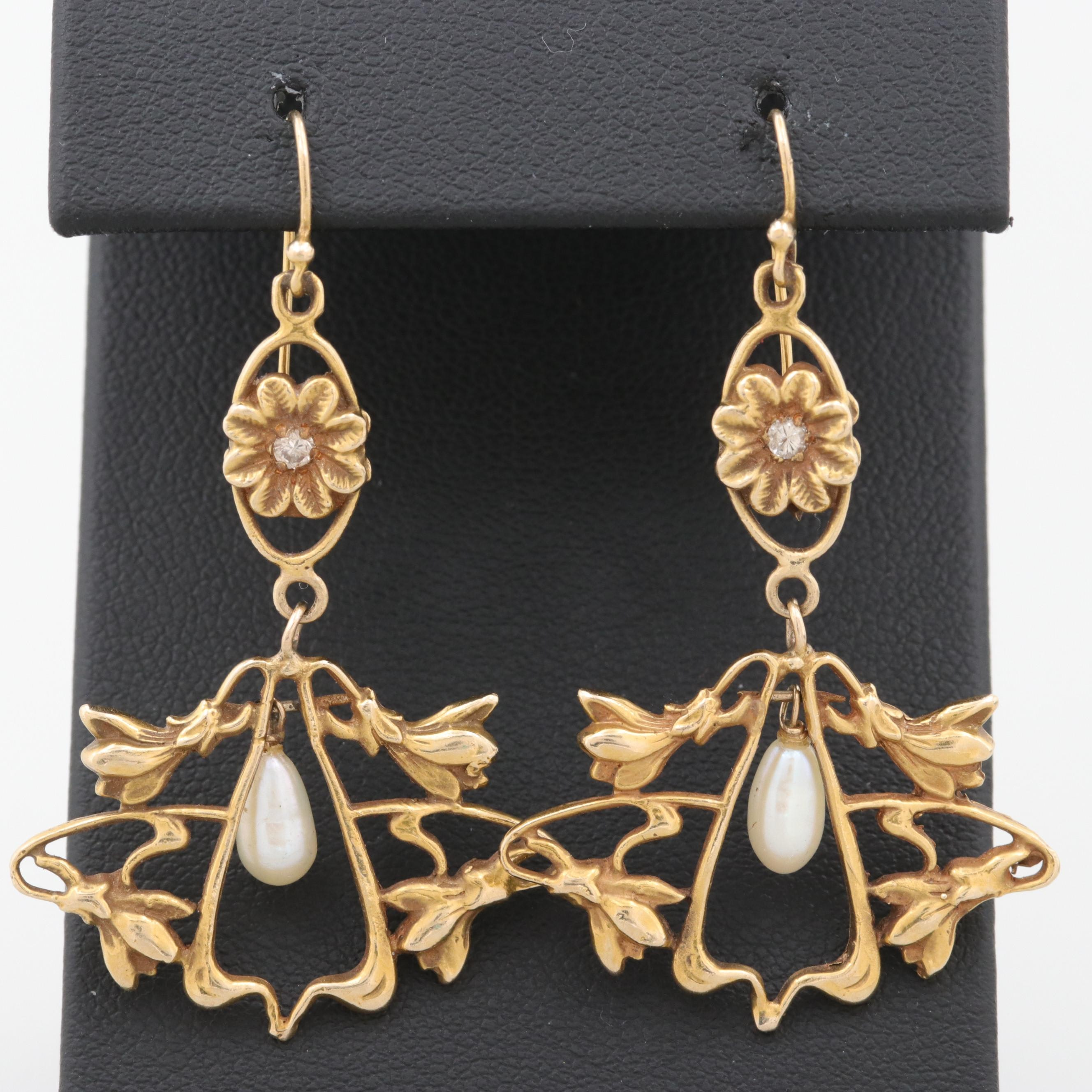 Art Nouveau 14K Yellow Gold Cultured Pearl and Diamond Earrings