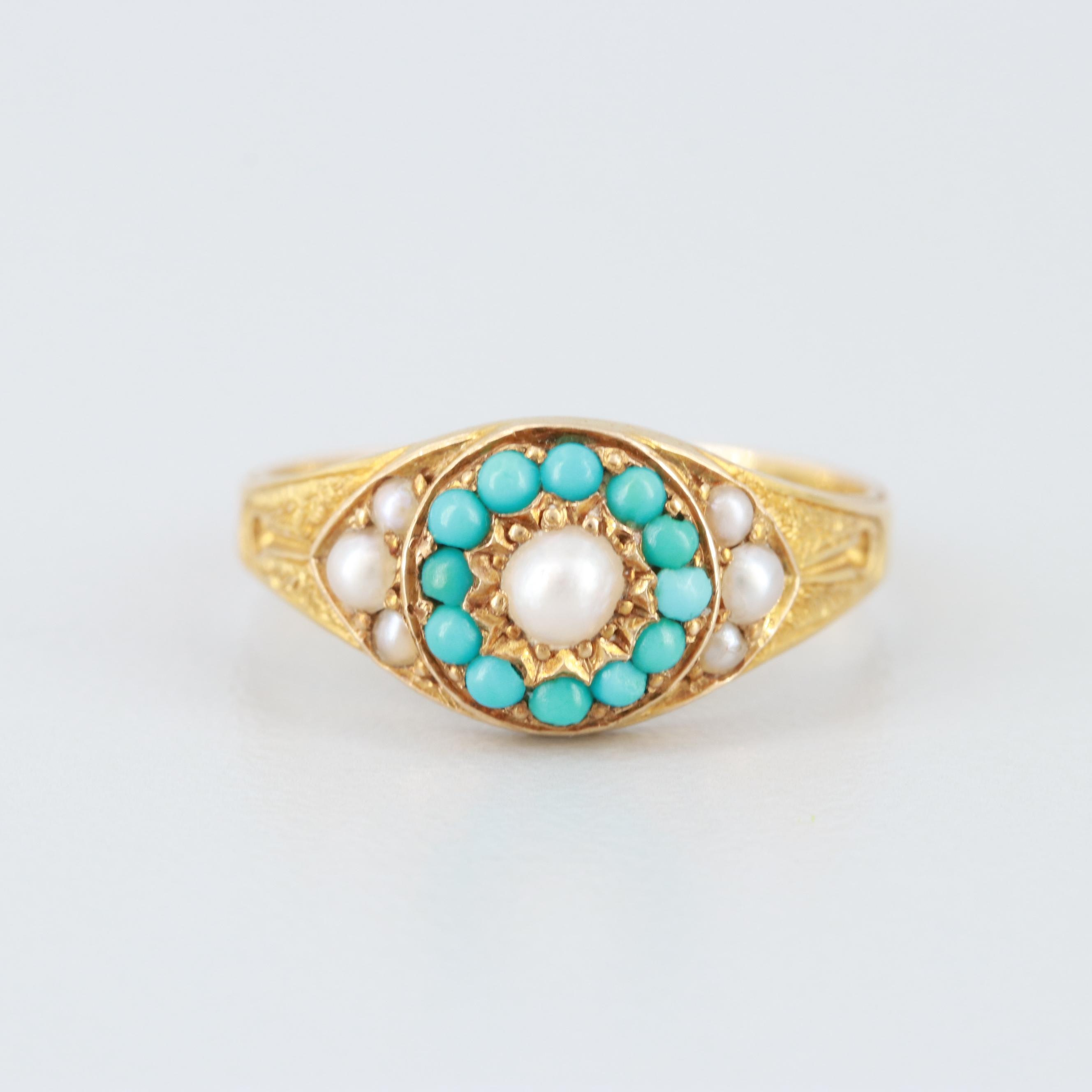 Victorian 15K Yellow Gold Cultured Pearl and Turquoise Ring