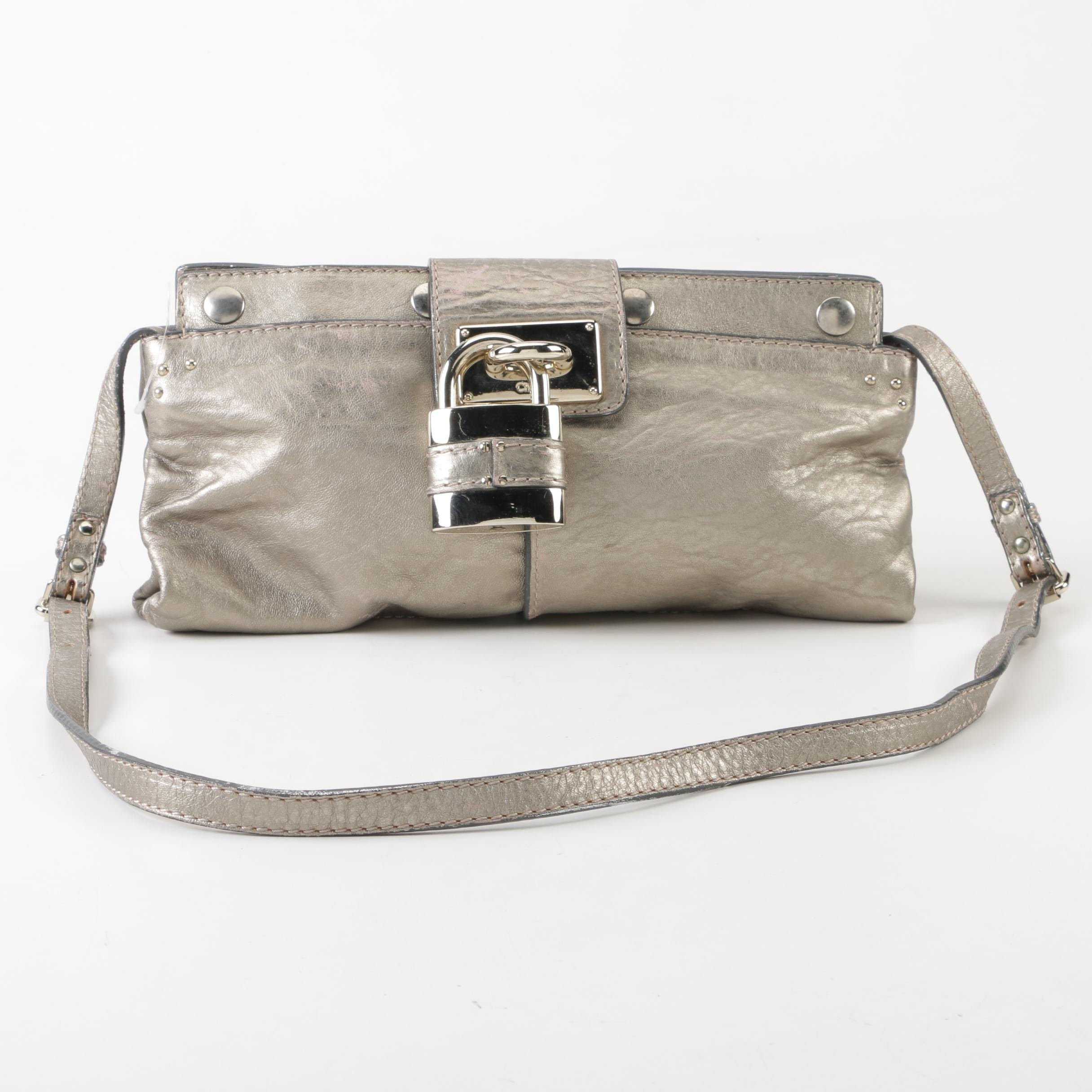 Chloé Metallic Silver Leather Paddington Shoulder Bag