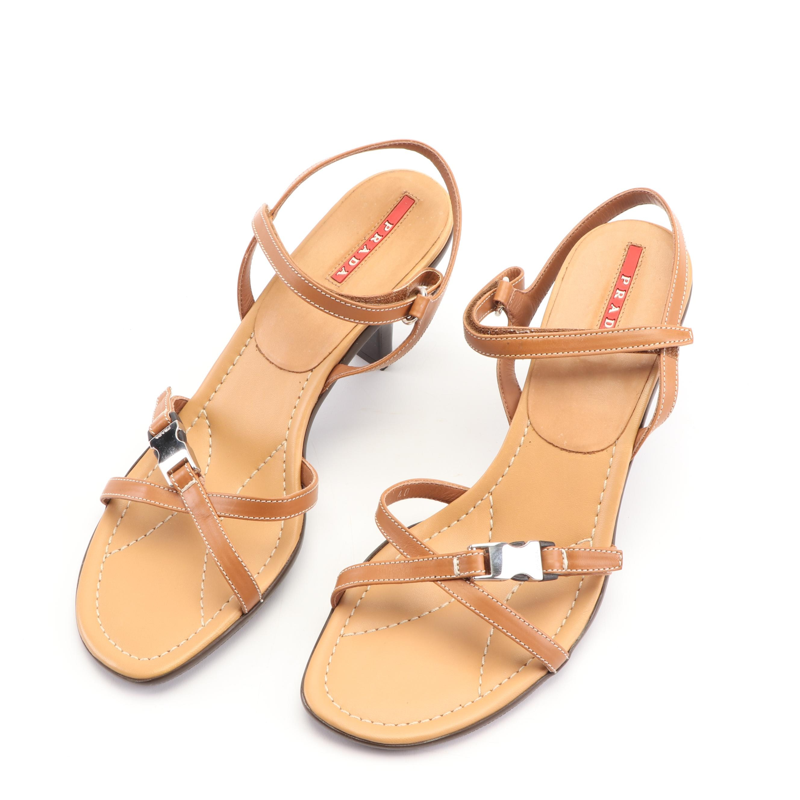 Prada Tan Leather Strappy Sandals with Buckle Accents, Made in Italy