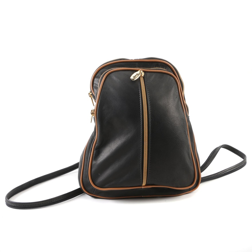 73776dab939f Valentina Black and Tan Leather Backpack Purse