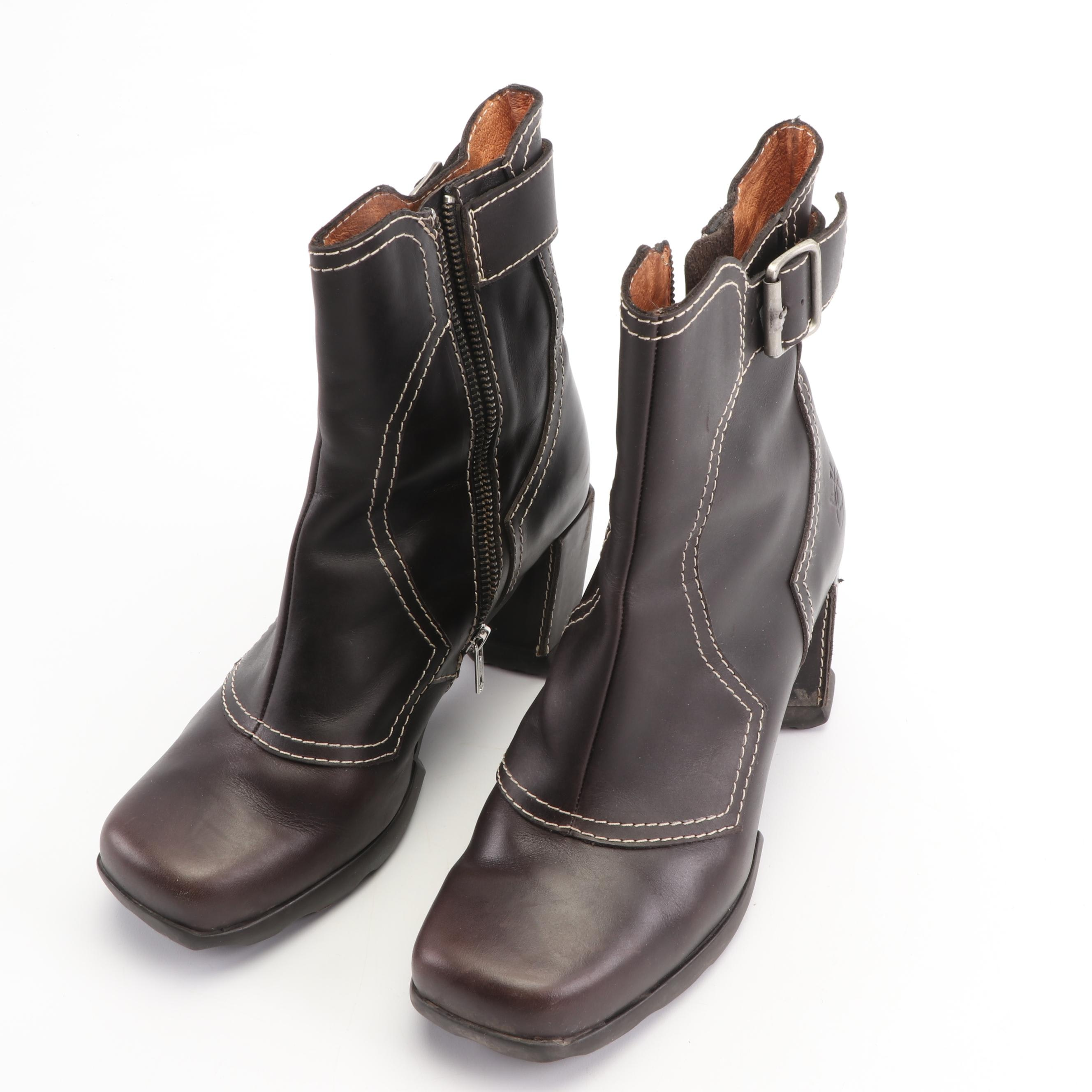 John Fluevog Brown Leather Booties with Stitch Detailing