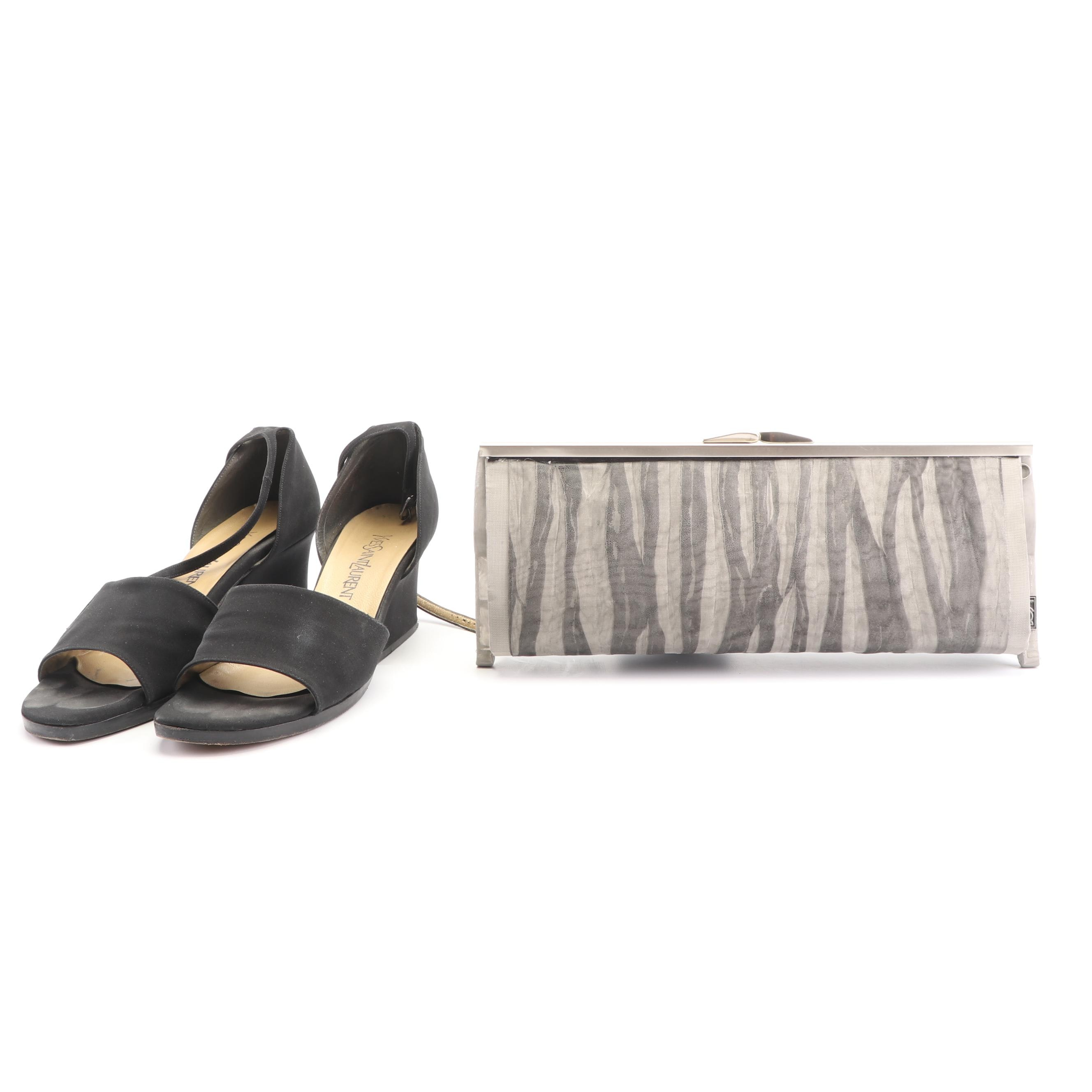 Yves Saint Laurent Black Wedge Sandals with Bo's Art Clutch of Los Angeles