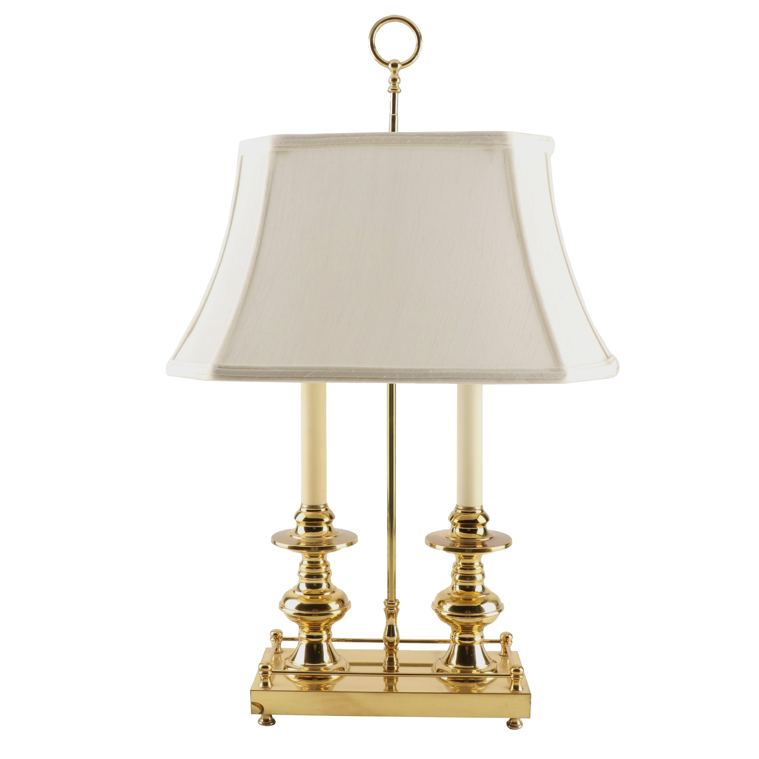 Brass Bouillotte Style Two-Light Table Lamp with Shade