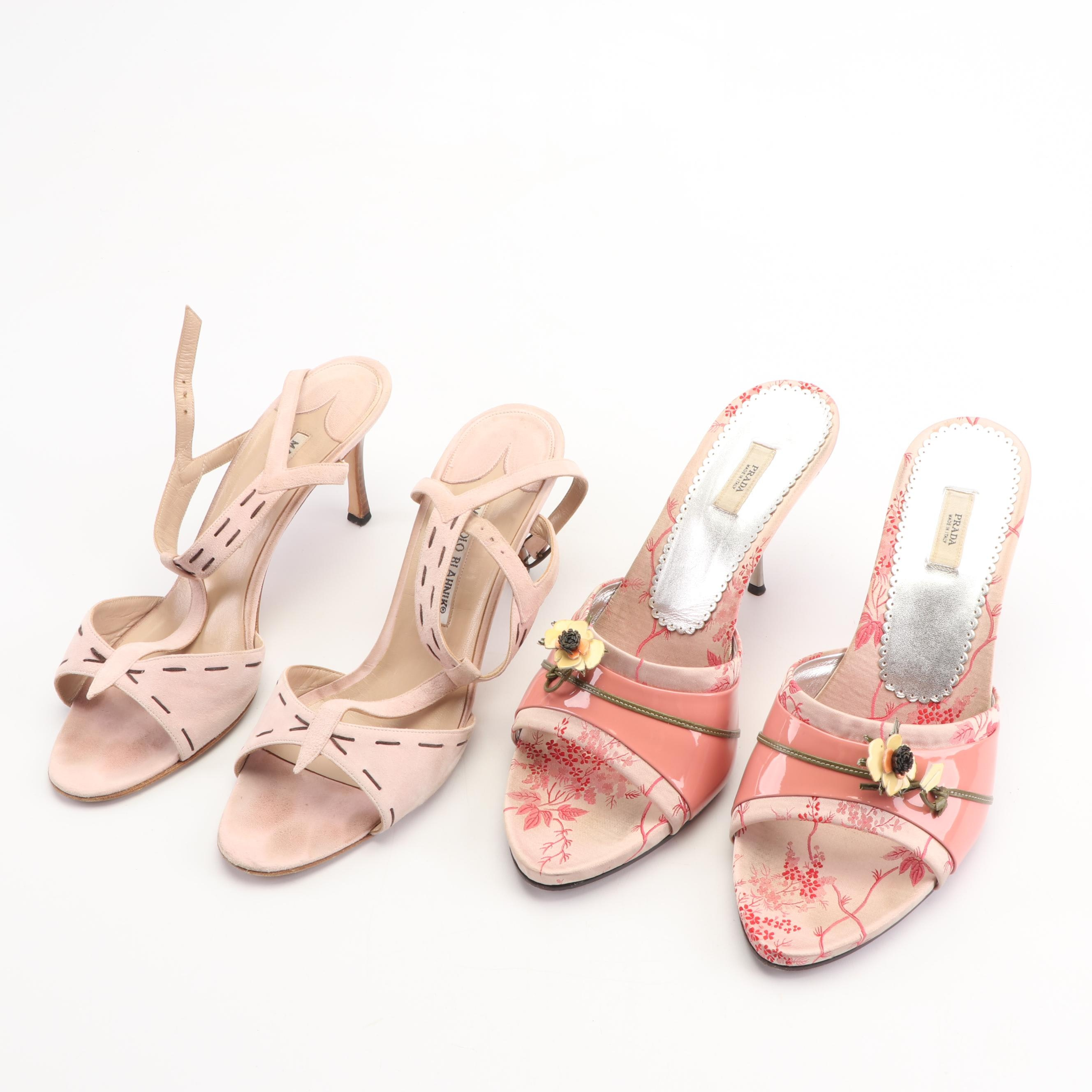 Prada and Manolo Blahnik Pink Stiletto Sandals