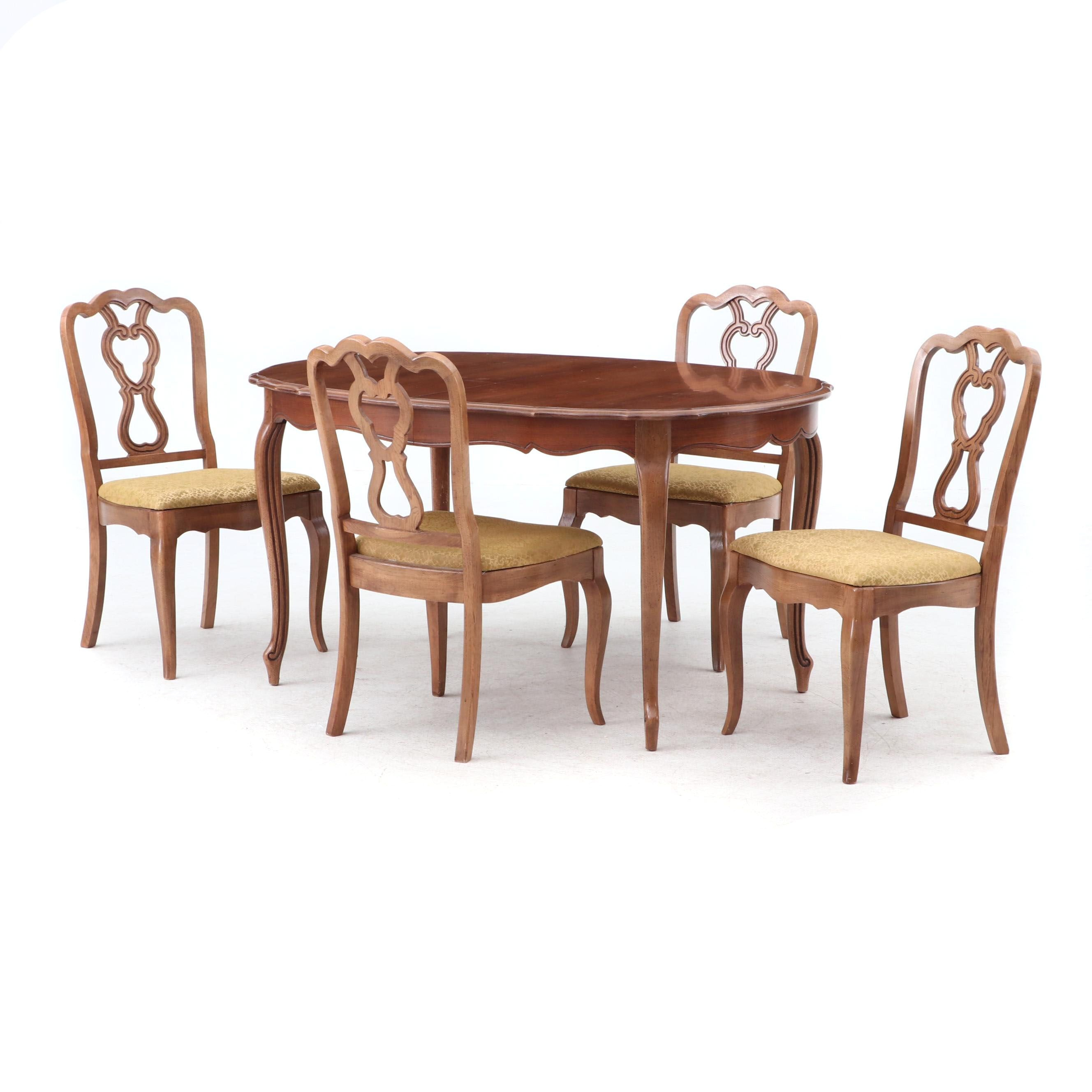 1962 Thomasville French Provincial Style Dining Table with Four Chairs