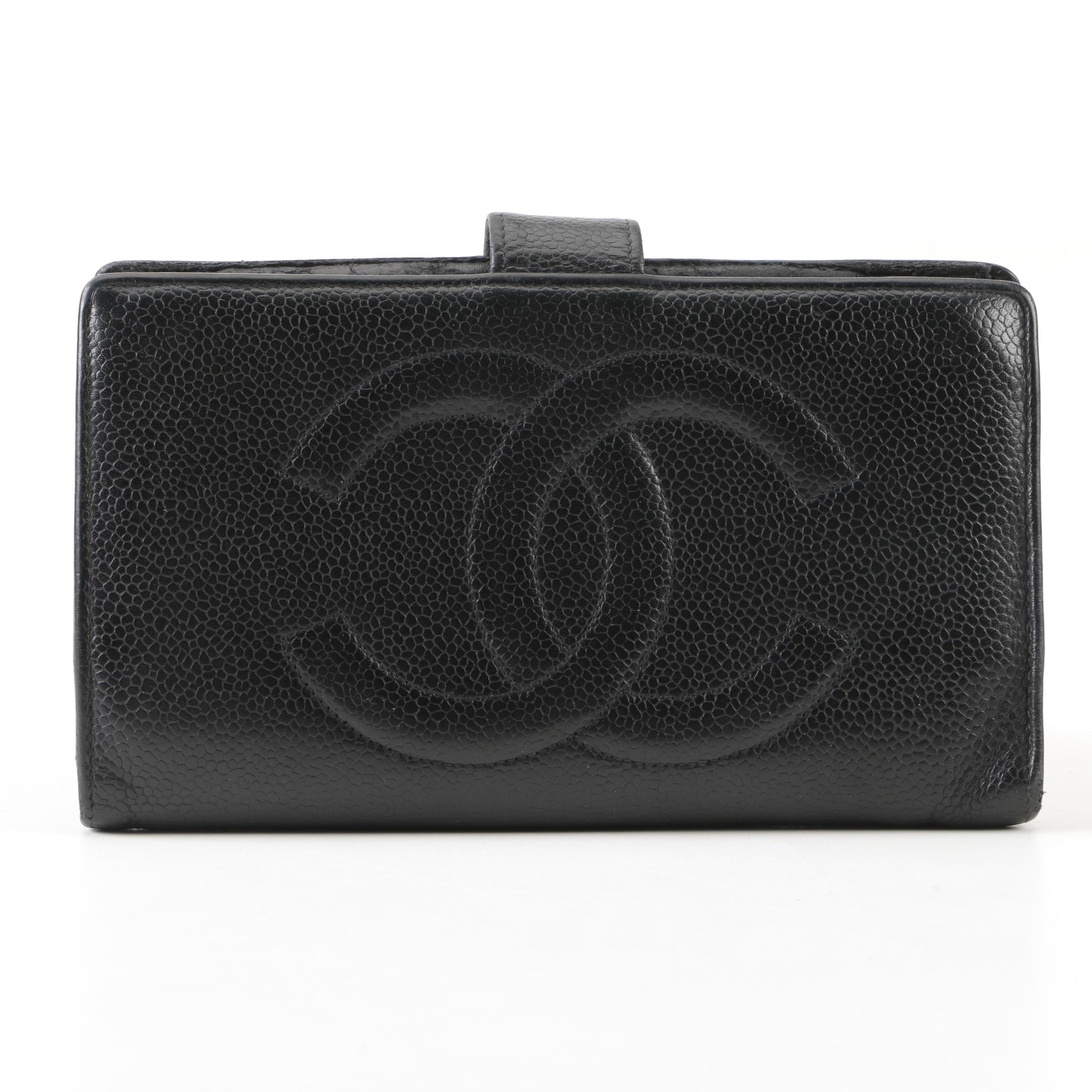 Chanel CC Black Caviar Leather Bifold Wallet, Made in France