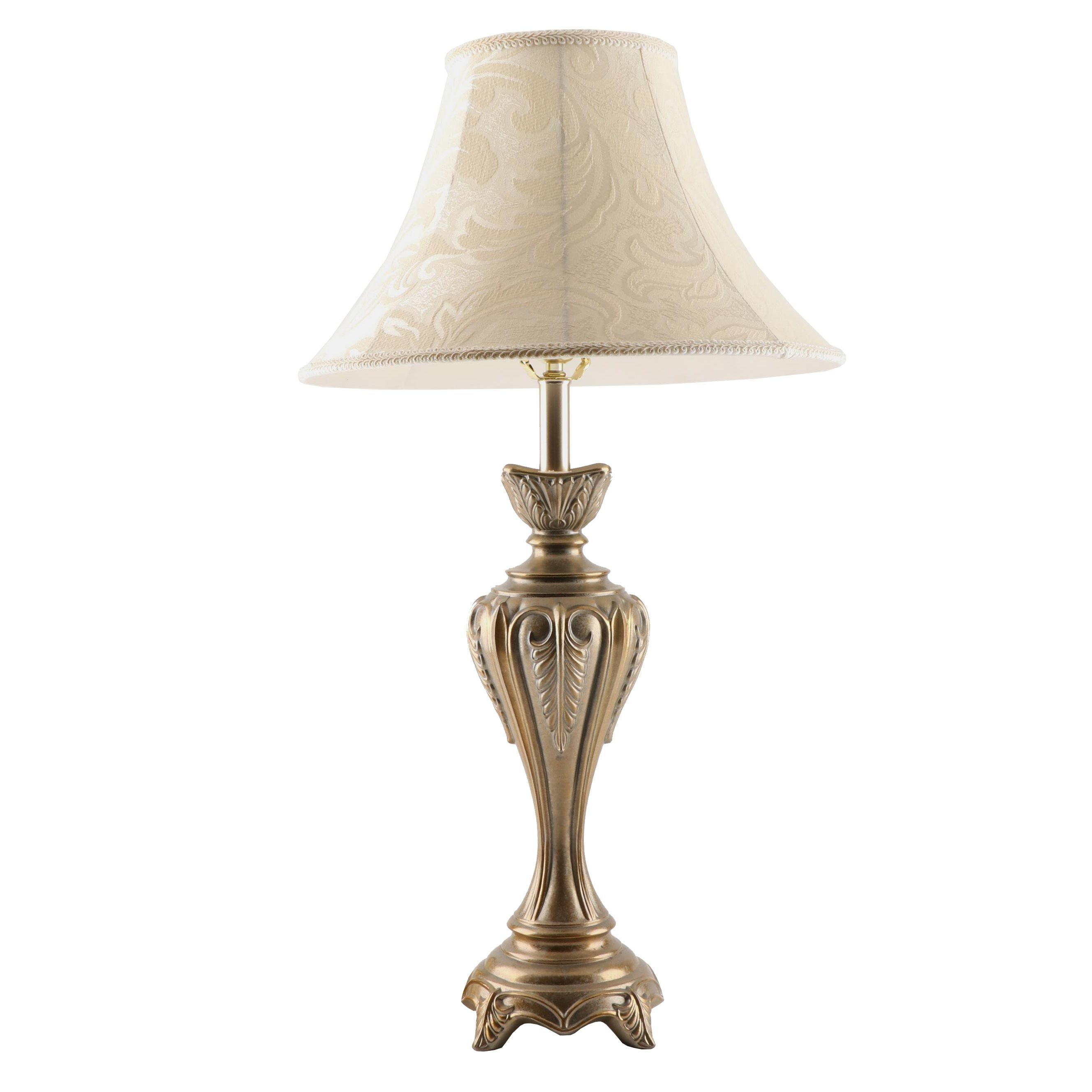Brass Finish Metal Table Lamp with Damask Lamp Shade
