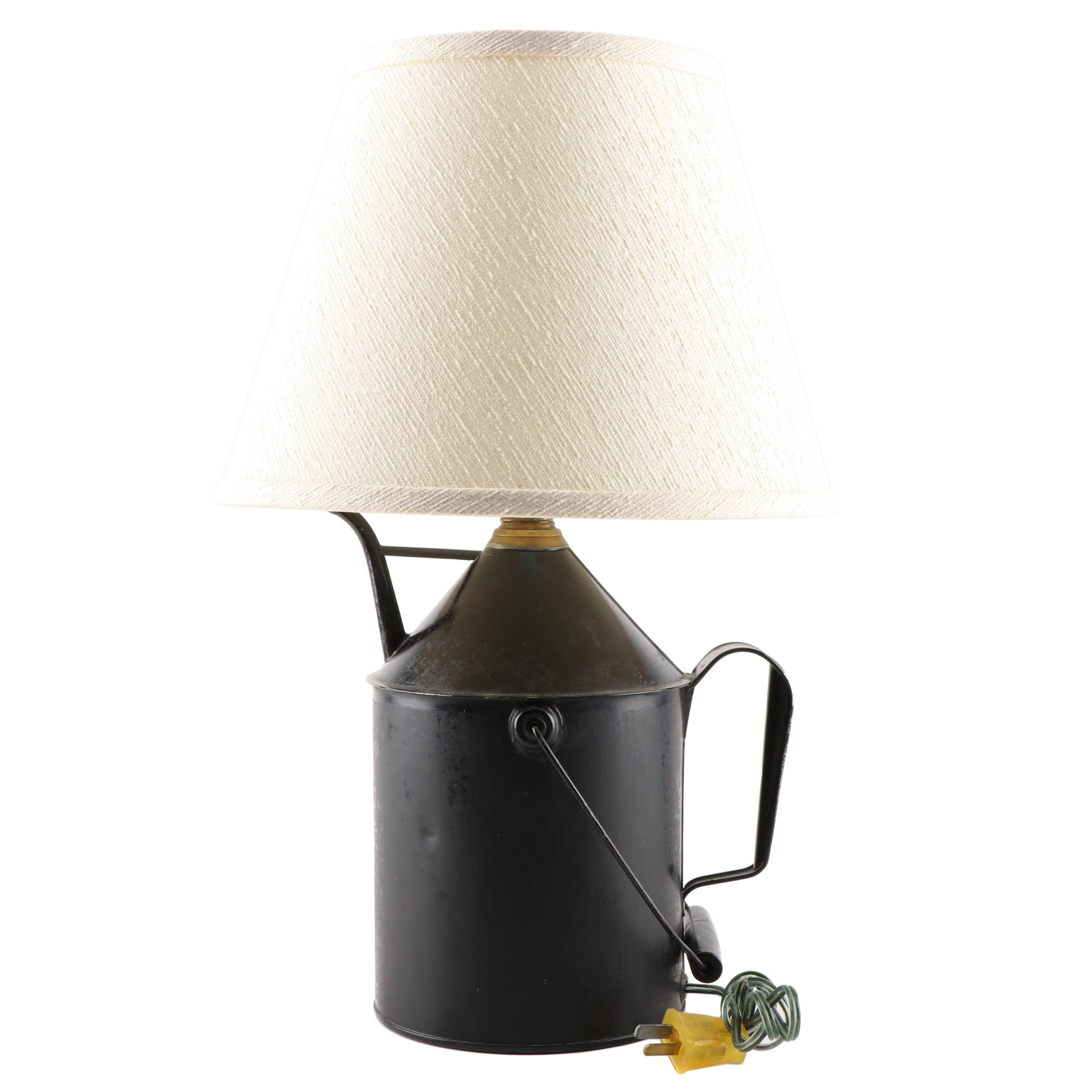 Repurposed Oil Can Table Lamp with Lamp Shade, Early to Mid 20th Century