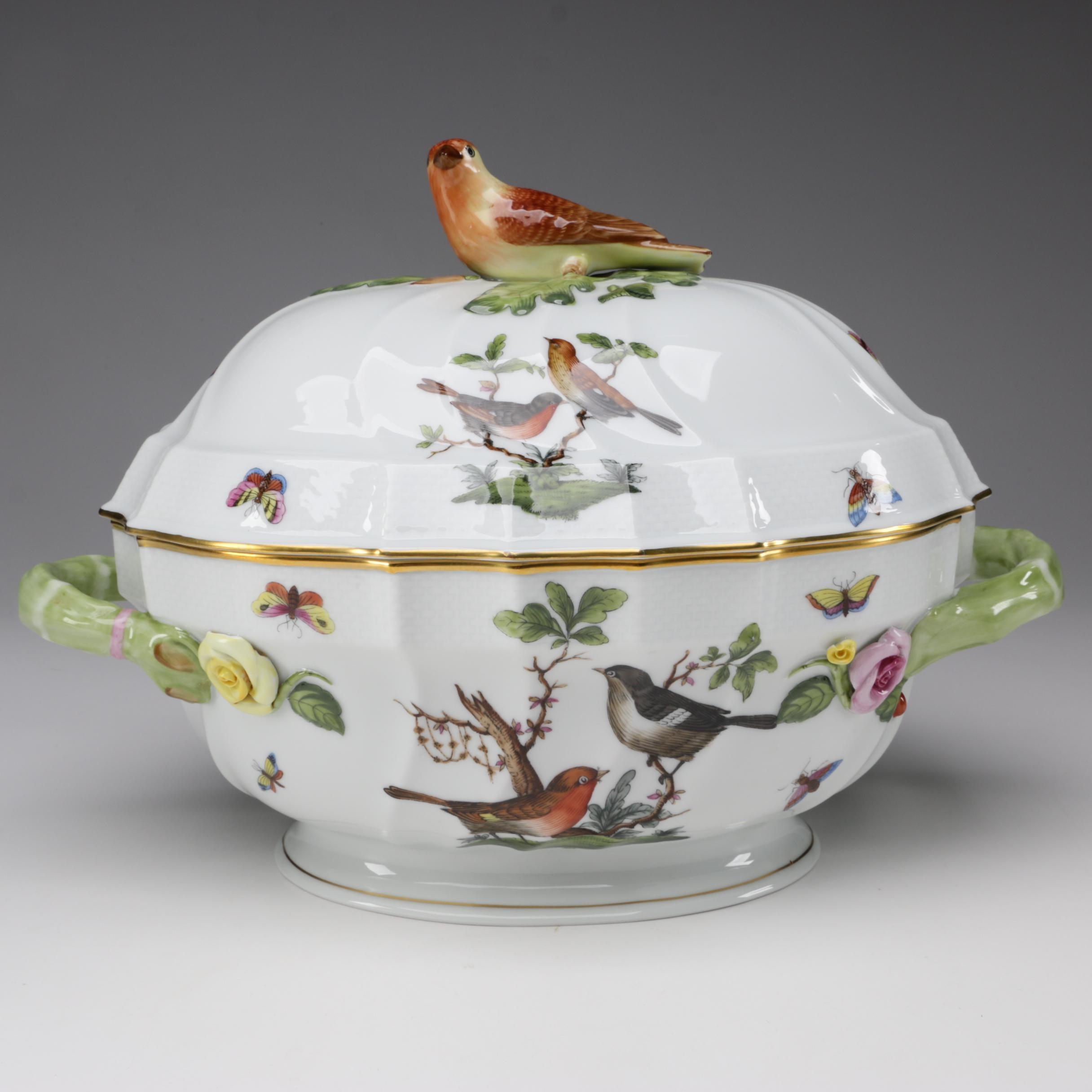 "Herend ""Rothschild Bird"" Porcelain Tureen with Lid"
