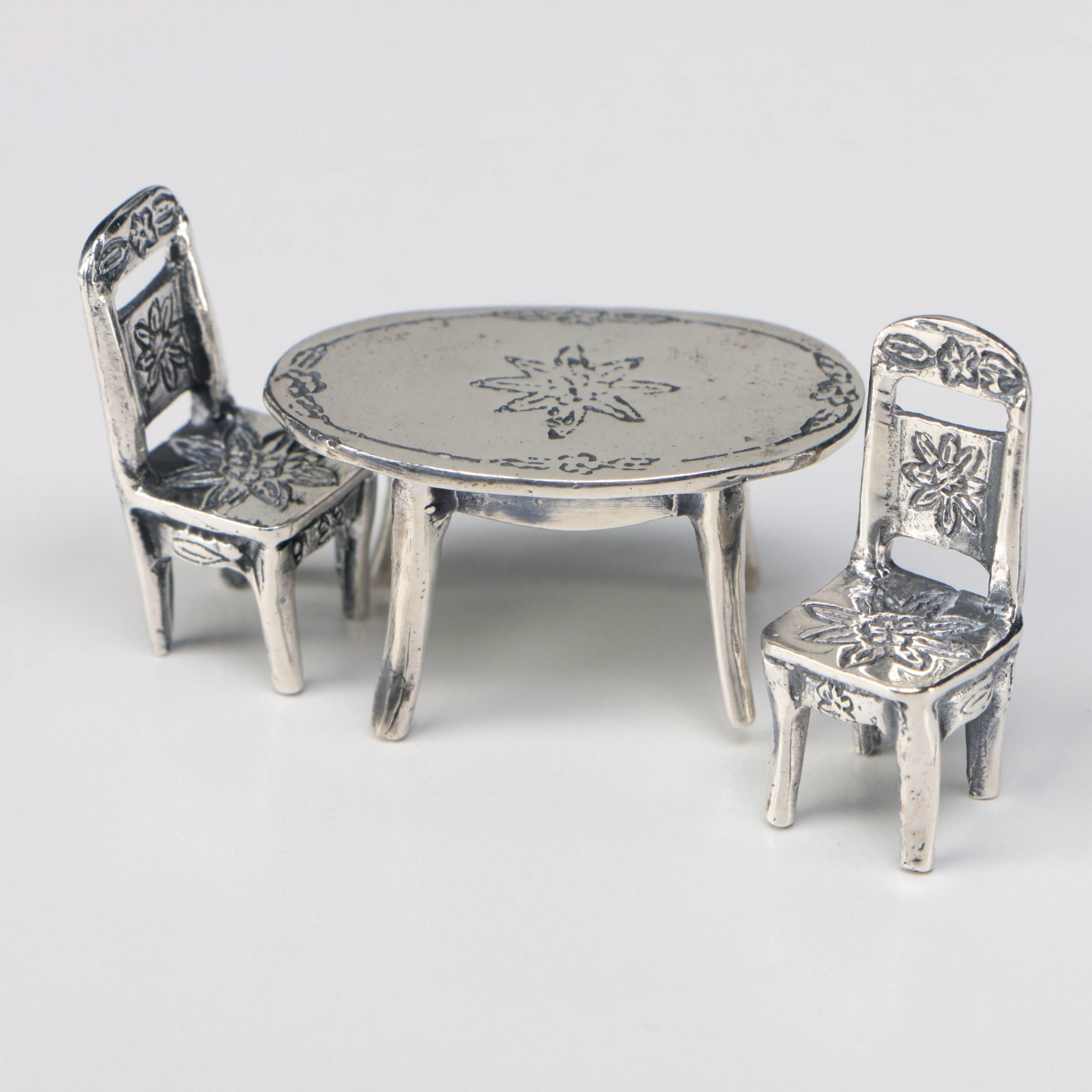 Mexican Miniature Sterling Dinner Table and Dining Chairs
