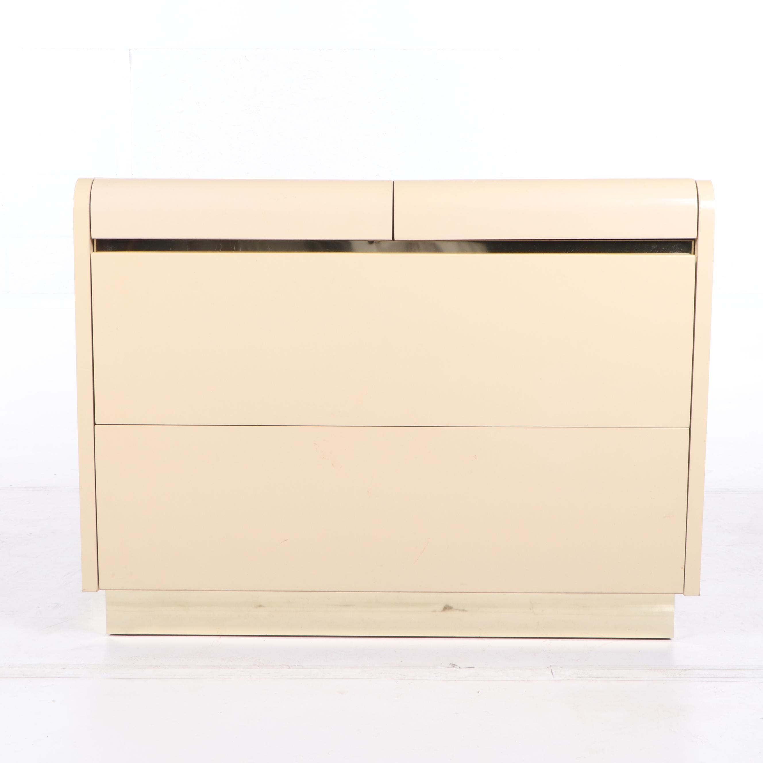 Vintage Lane Lacquer and Brass 4-Drawer Dresser